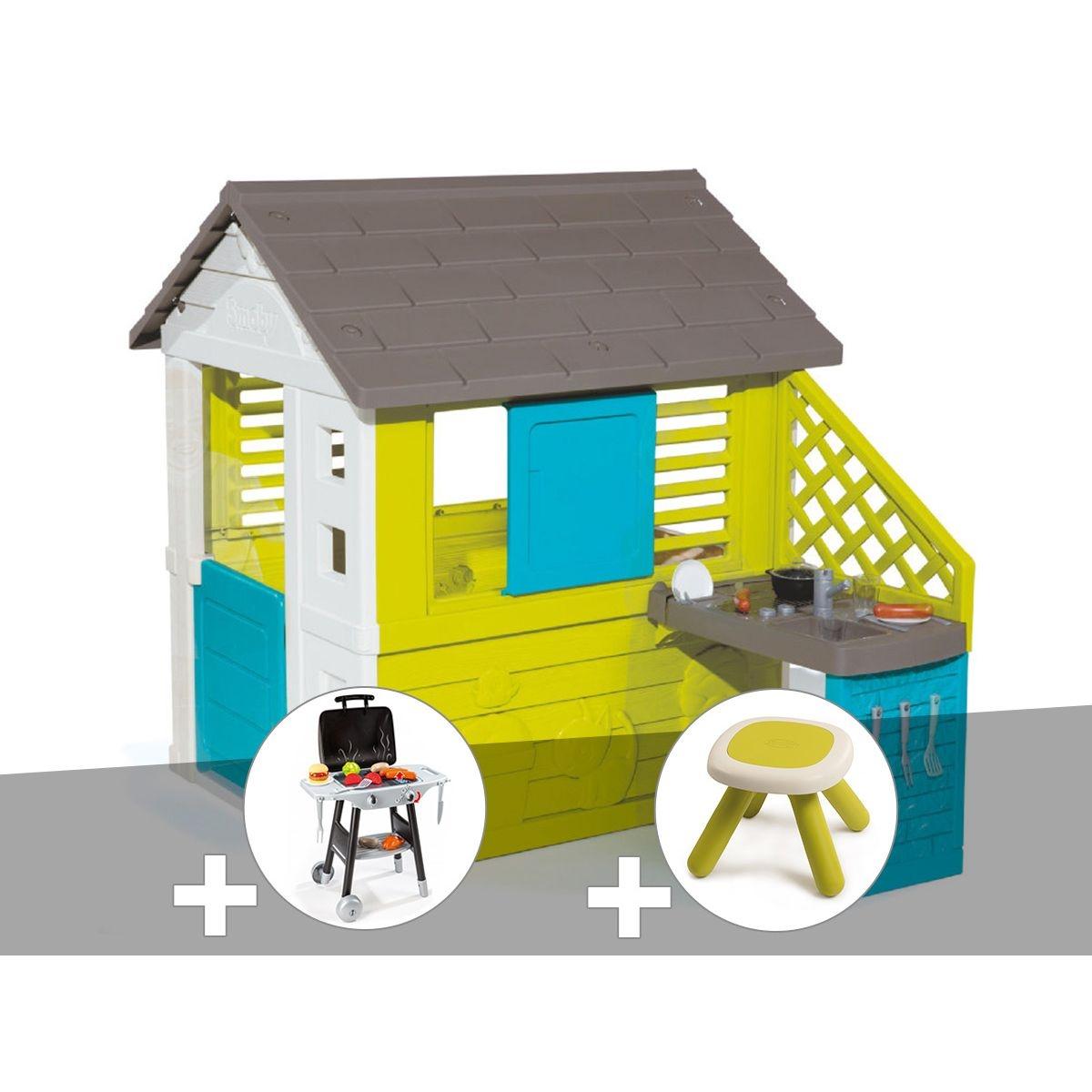 Cabane enfant Pretty + Cuisine d'été - Smoby + Plancha + Tabouret