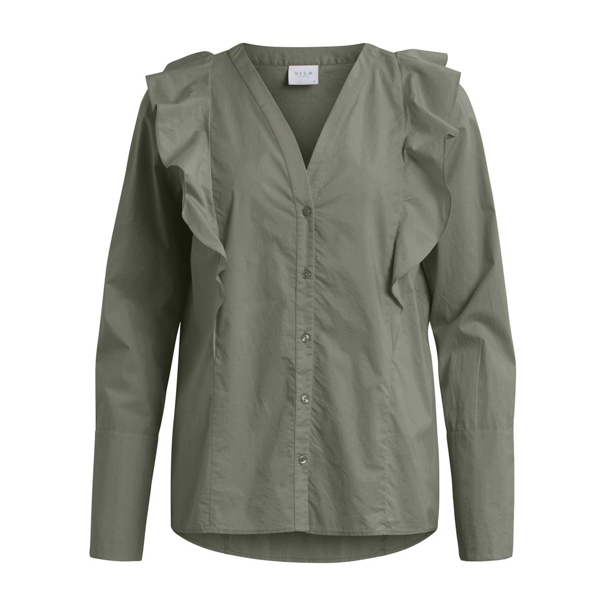 Блузка однотонная с V-образным вырезом и длинными рукавами цена