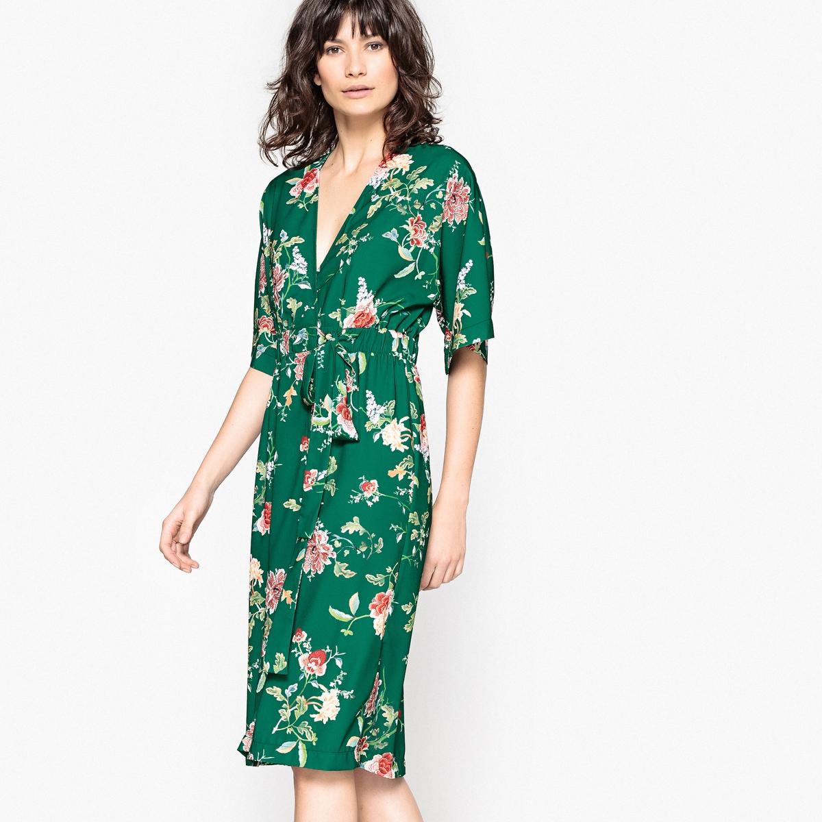 Платье-кимоно с цветочным рисунком