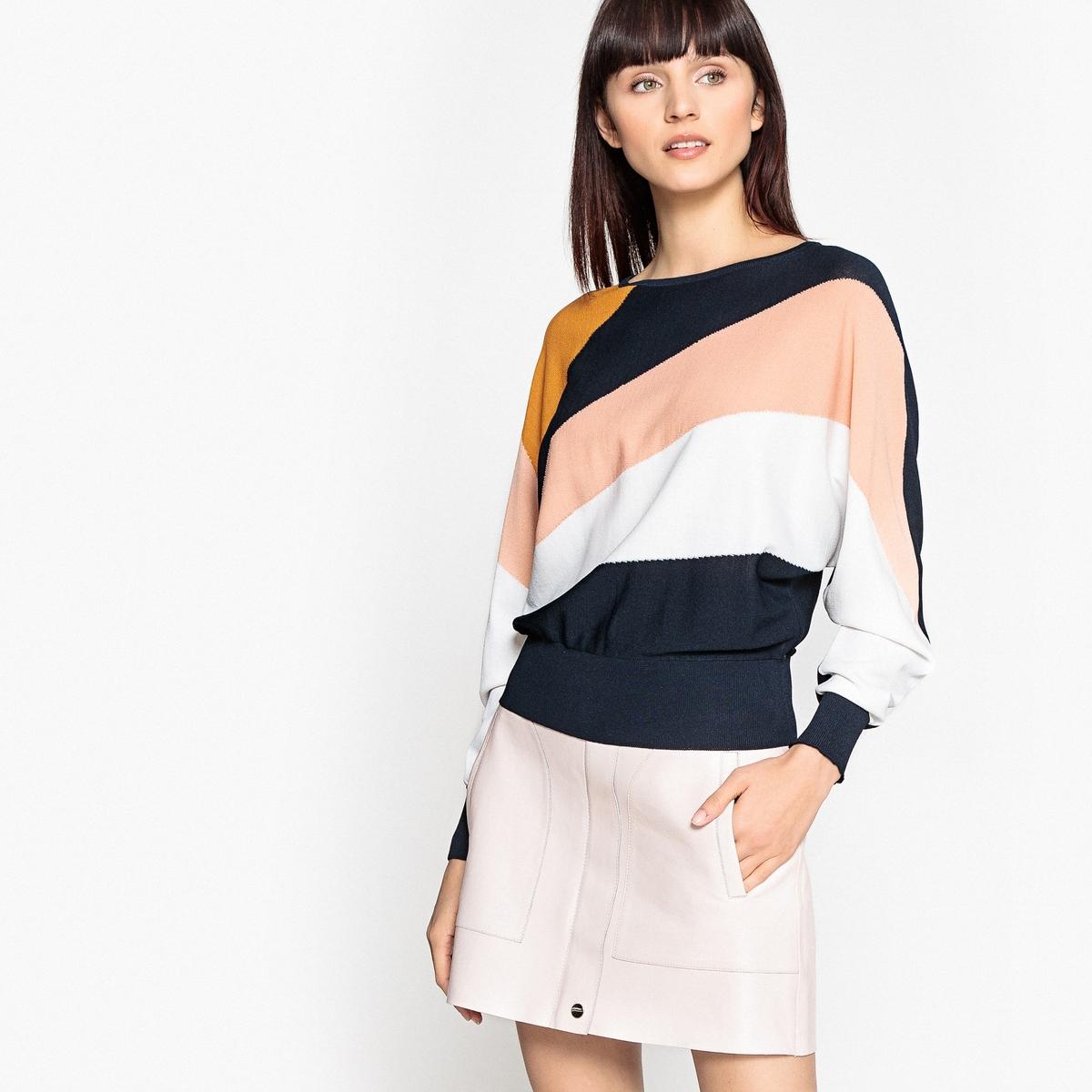 Пуловер разноцветный с рукавами-летучая мышь полуприлегающее платье с рукавами летучая мышь s
