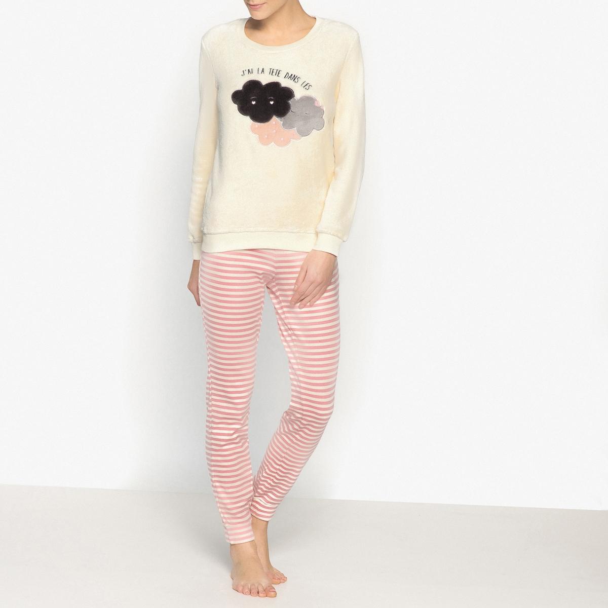 Пижама утепленнаяОписание:Очень теплая пижама с рисунком с красивым верхом и брюками в тонкую полоску : идеальна для моментов отдыха. Состав и описание :Прямой покрой, верз с круглым вырезом, длинные рукава.Брюки с эластичным поясом. Низ на резинке Материал : Верх : 100% полиэстерБрюки : 95 % хлопка, 5% эластанаРазмеры: Верх : 67 см.Длина по внутр.шву : 77 смУход :Стирать с вещами подобного цвета при 30°.Стирать и гладить при низкой температуре с изнаночной стороны. Машинная сушка запрещена.<br><br>Цвет: экрю