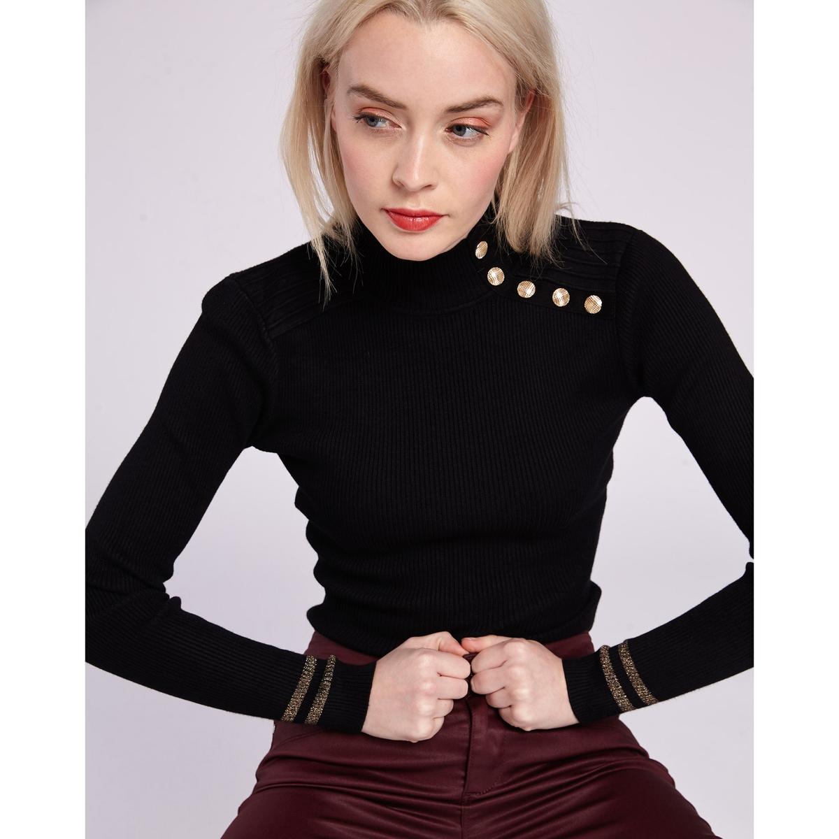 Пуловер La Redoute С воротником-стойкой застежкой на пуговицы и длинными рукавами L черный