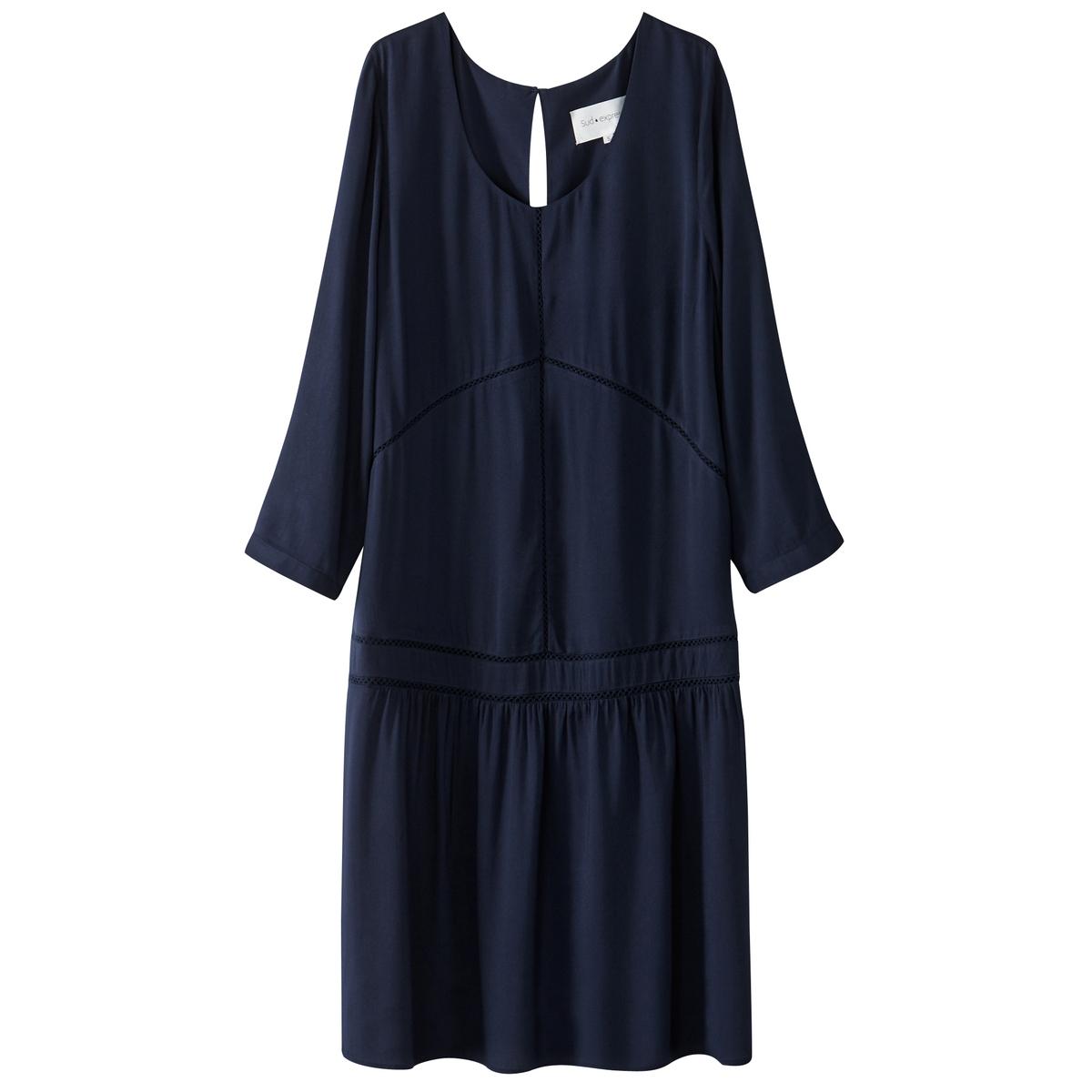 Платье однотонное расклешенного покроя, длина миди, 3/4Детали •  Форма : расклешенная •  Длина миди, 3/4 •  Рукава 3/4    •  Круглый вырезСостав и уход •  100% вискоза •  Следуйте советам по уходу, указанным на этикетке<br><br>Цвет: темно-синий<br>Размер: S
