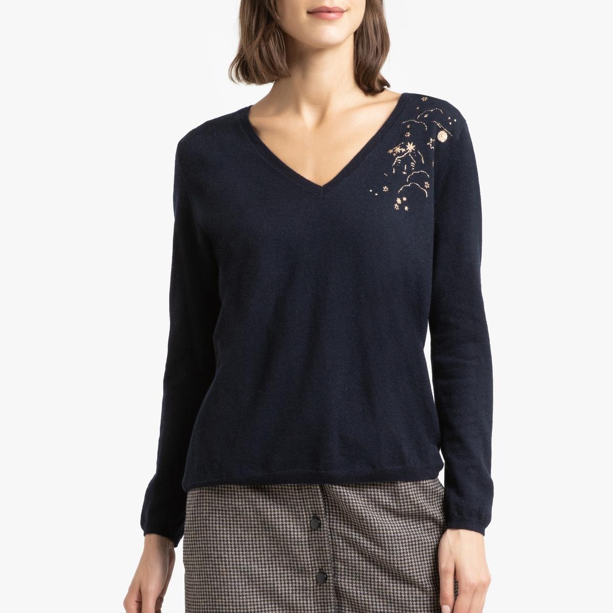 Пуловер La Redoute С V-образным вырезом из трикотажа из шерсти и кашемира BENNET 1(S) синий ic men коричневый пуловер из кашемира