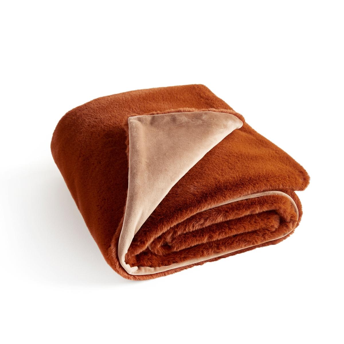 Плед La Redoute Из искусственного меха Noursi 130 x 170 см каштановый ковер la redoute горизонтального плетения с рисунком цементная плитка iswik 120 x 170 см бежевый