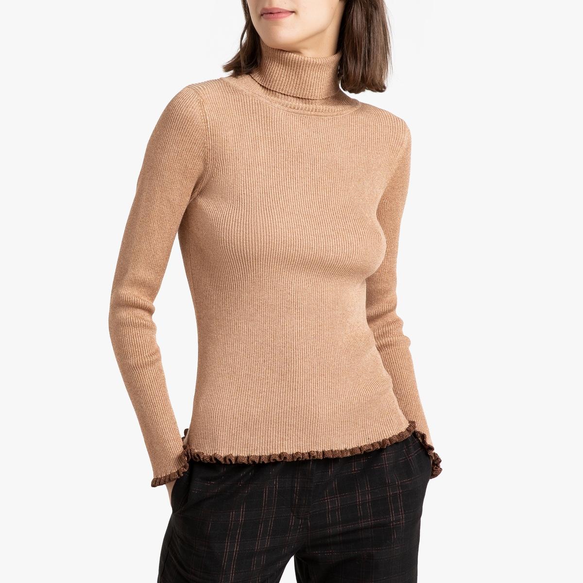 Пуловер La Redoute С отворачивающимся воротником из тонкого блестящего трикотажа PEYO 3(L) желтый