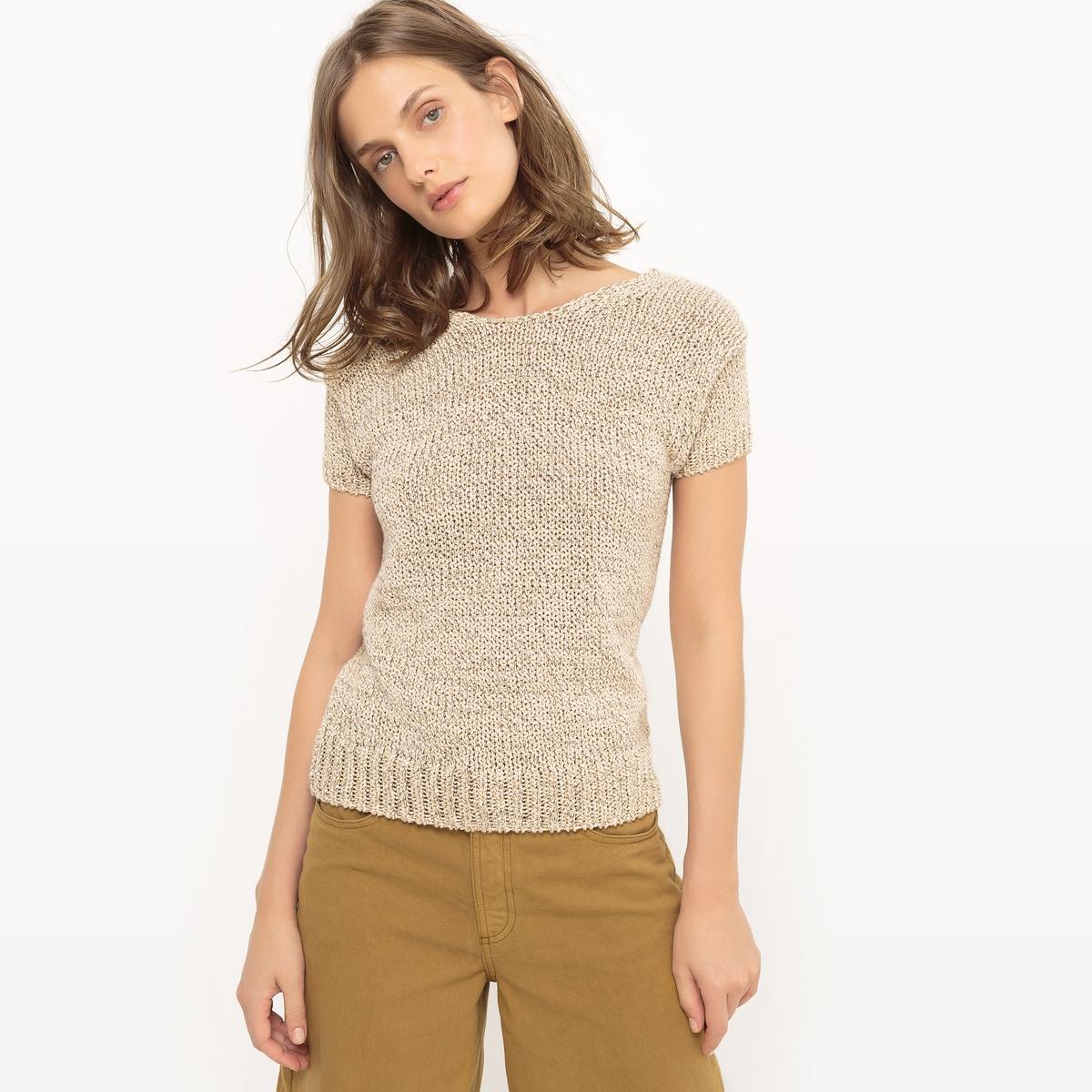 Пуловер из трикотажа мулине с вырезом-лодочкой