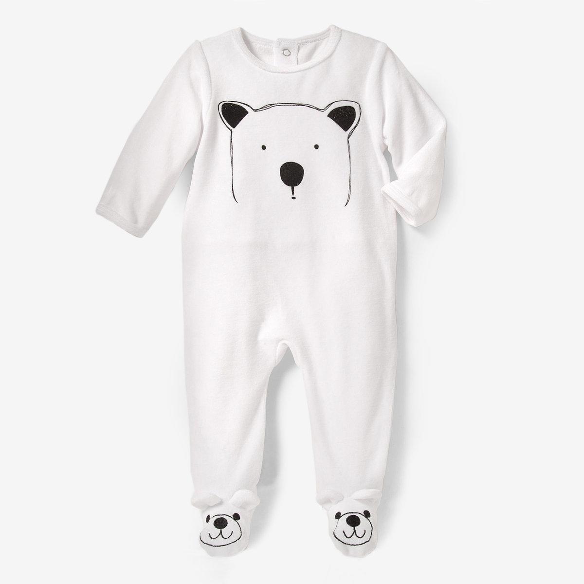 Пижама велюровая со вшитыми носочками, 0 мес.-3 лет