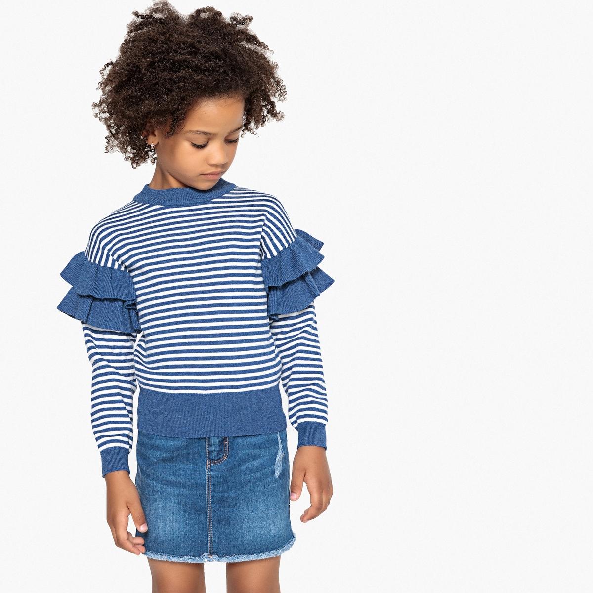 Пуловер La Redoute Из тонкого трикотажа с воланами 12 лет -150 см синий цена