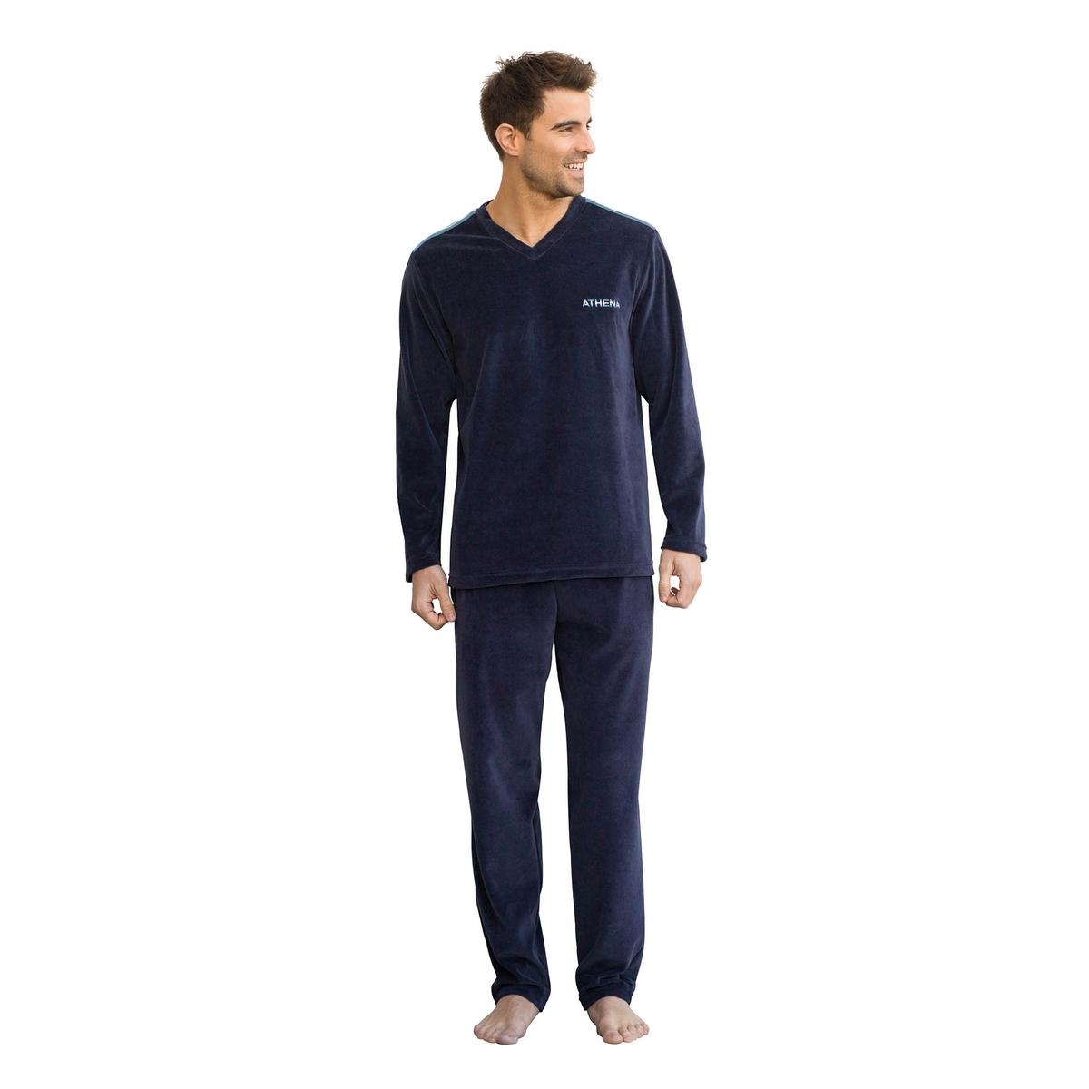 Пижама длинная из велюра с V-образным вырезом