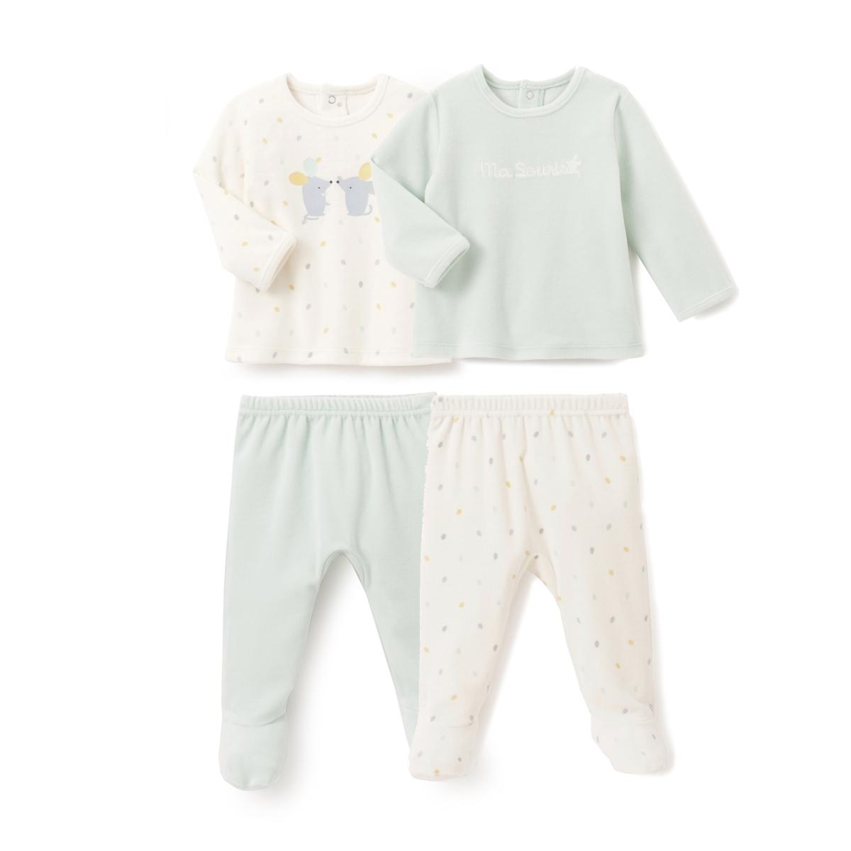 2 пижамы велюровые из 2 предметов, 0 мес.- 3 лет