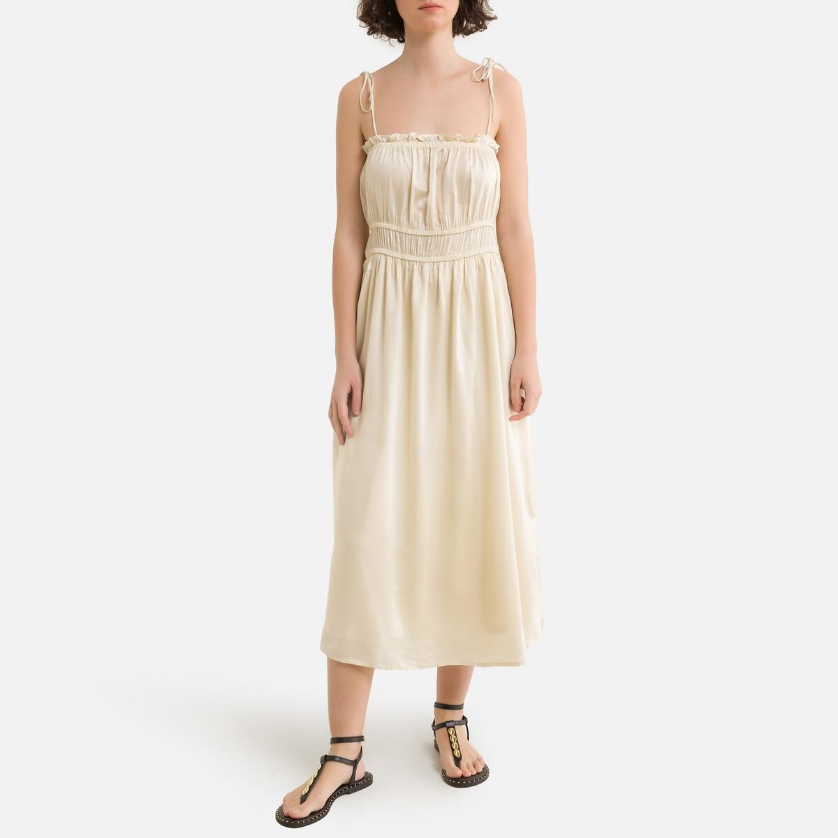 Платье LaRedoute На тонких бретелях расклешенное L бежевый