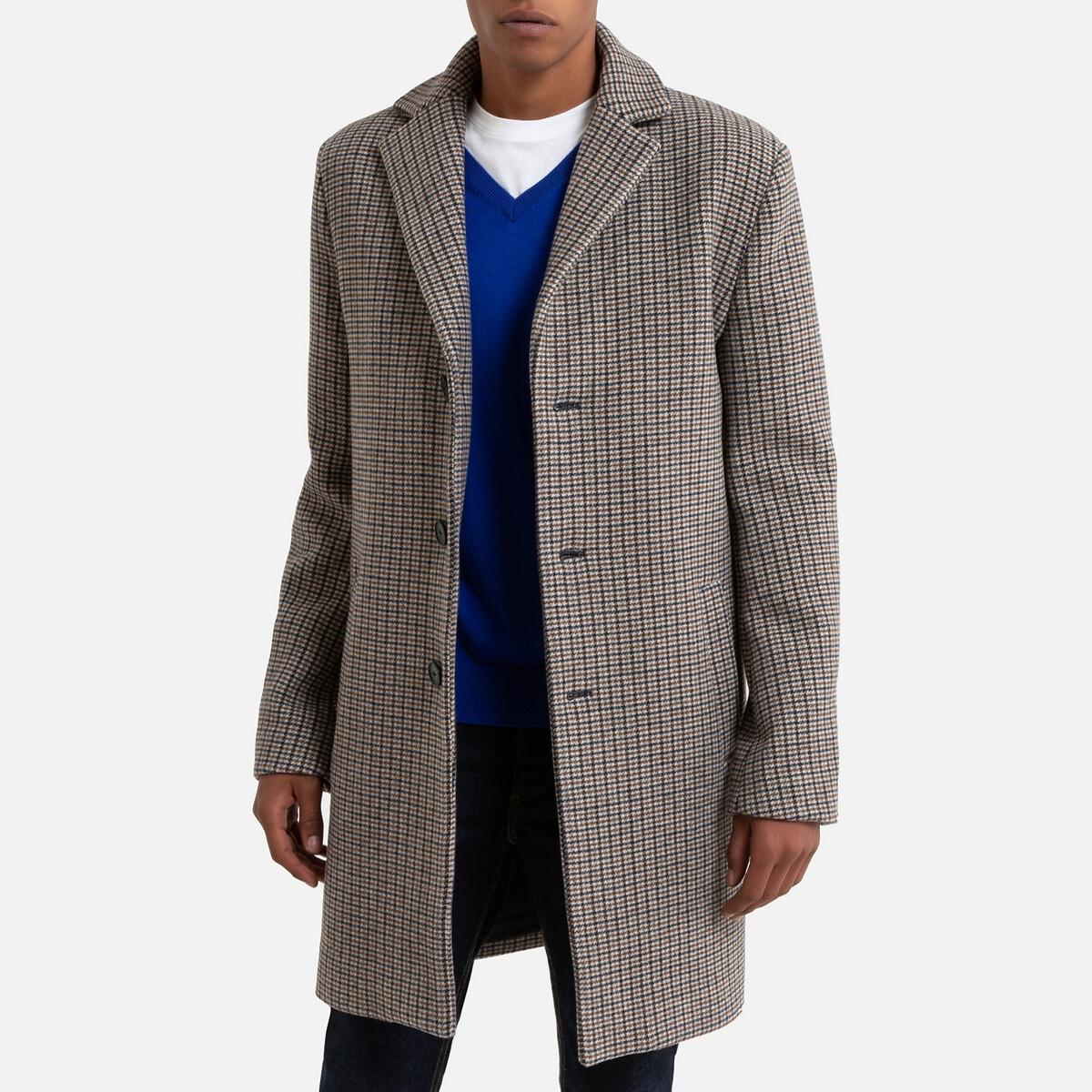 Пальто LaRedoute Прямое средней длины пиджачный воротник рисунок в ломаную клетку 3XL другие