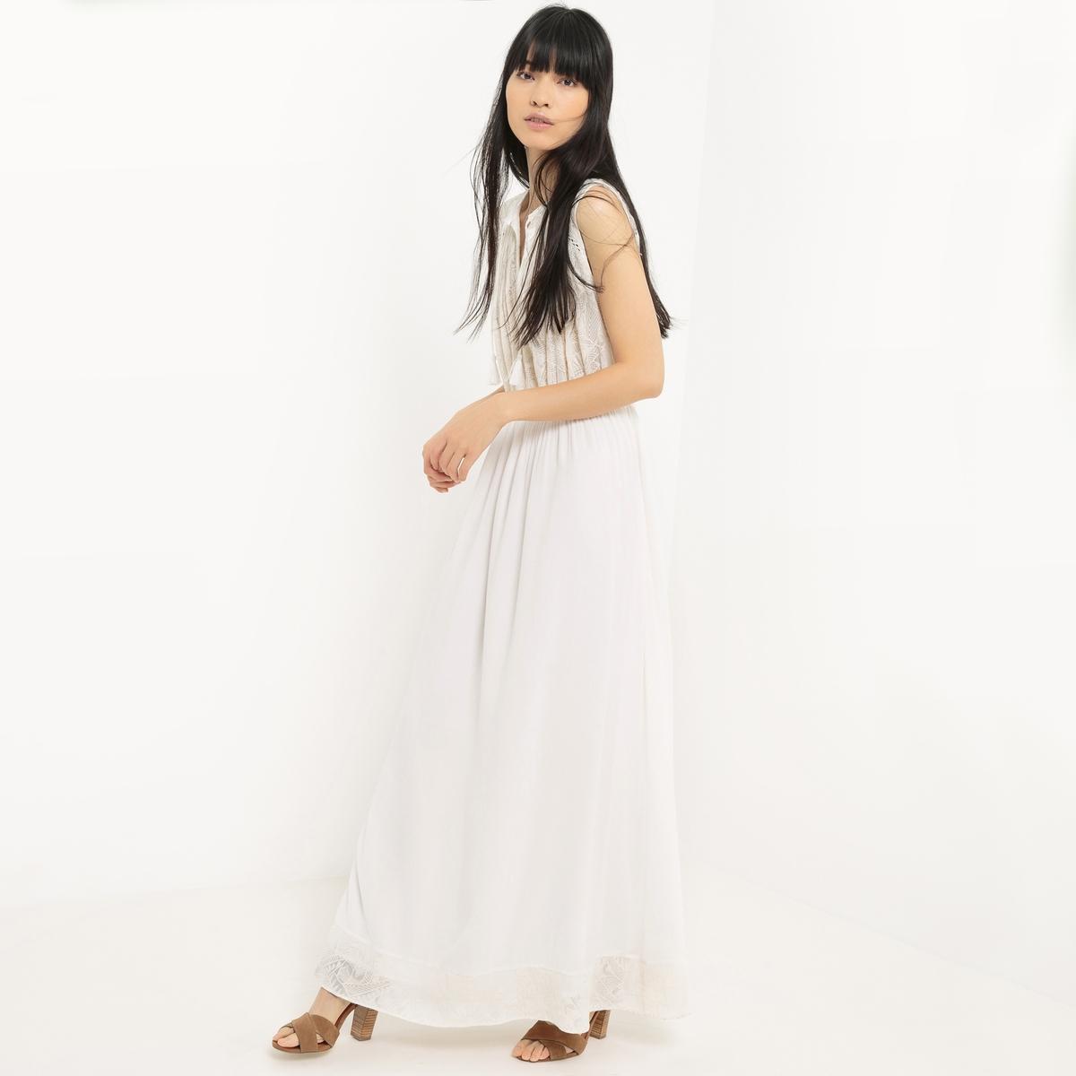 Платье длинное однотонное без рукавов