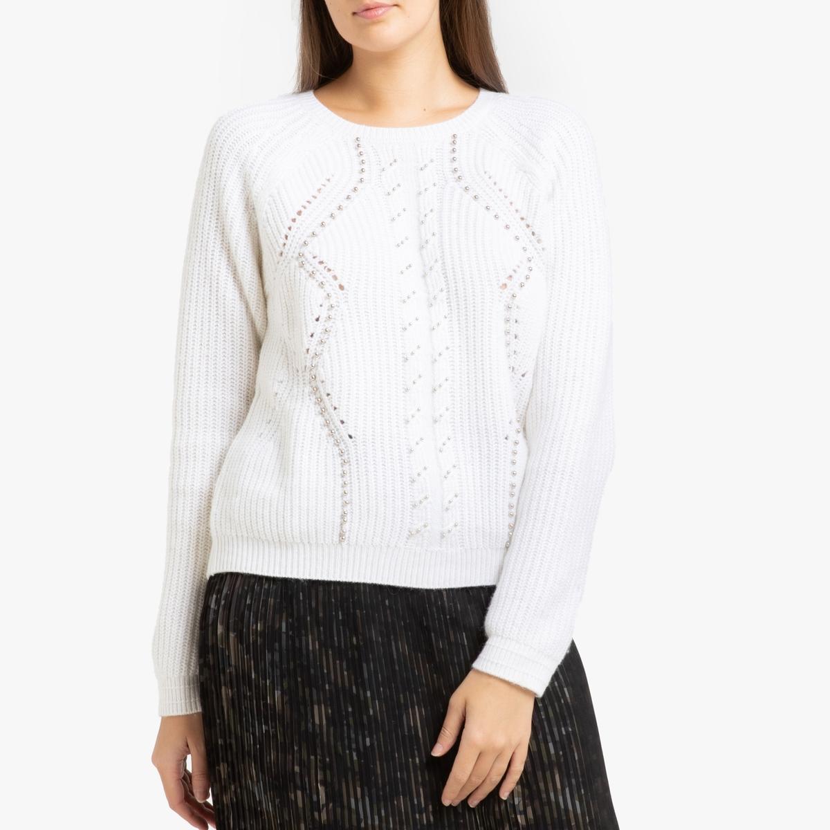 Пуловер La Redoute С круглым вырезом из тонкого трикотажа L бежевый цена