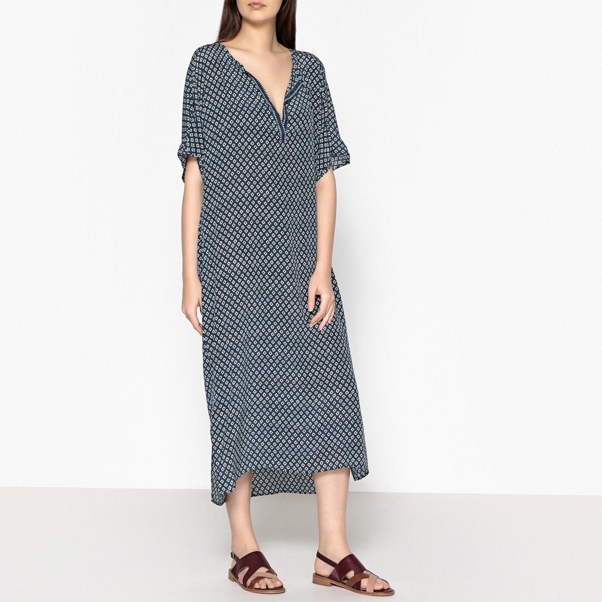 Платье длинное из шелка с тунисским вырезом RONA