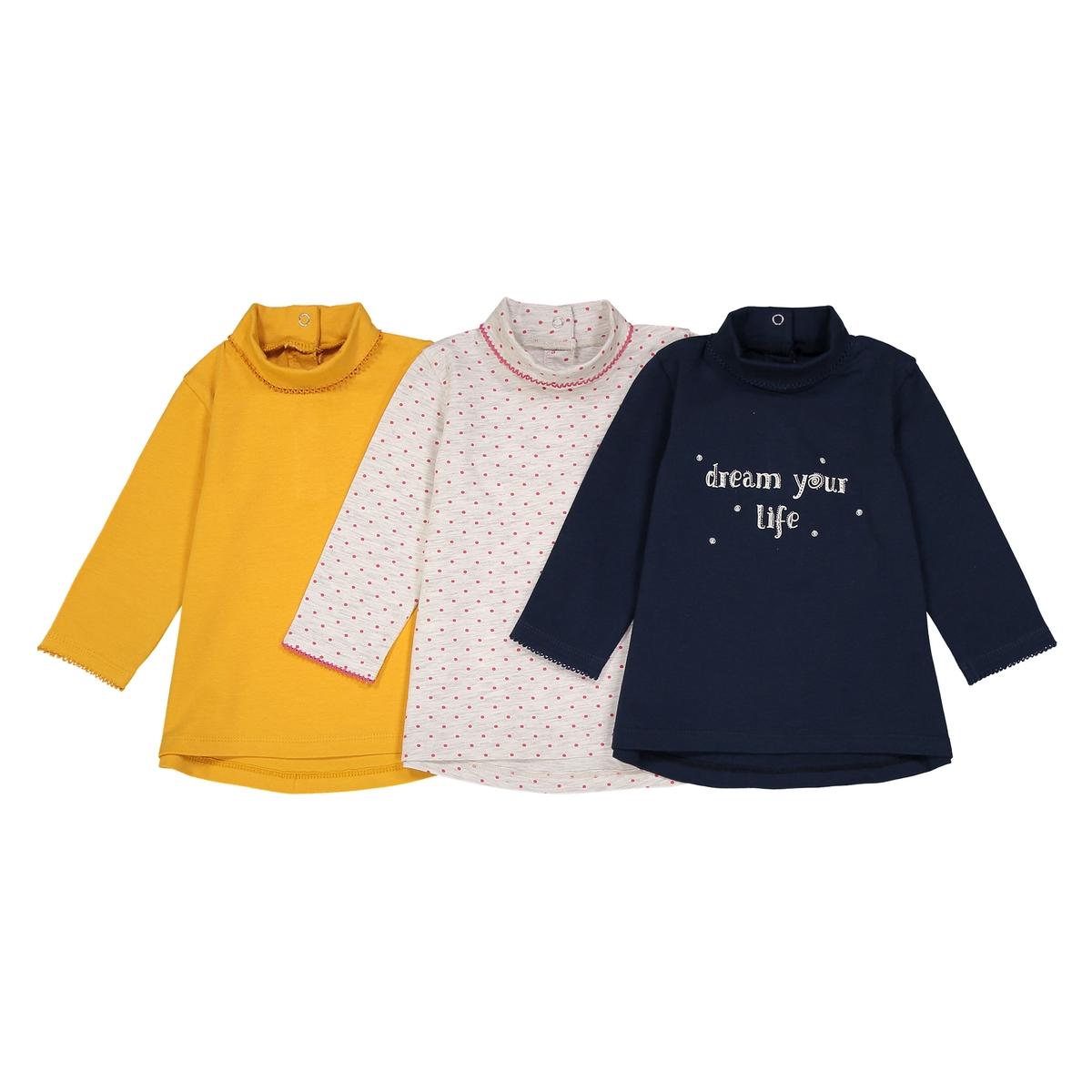 Confezione da 3 t-shirt collo a dolcevita 1 mese - 3 anni