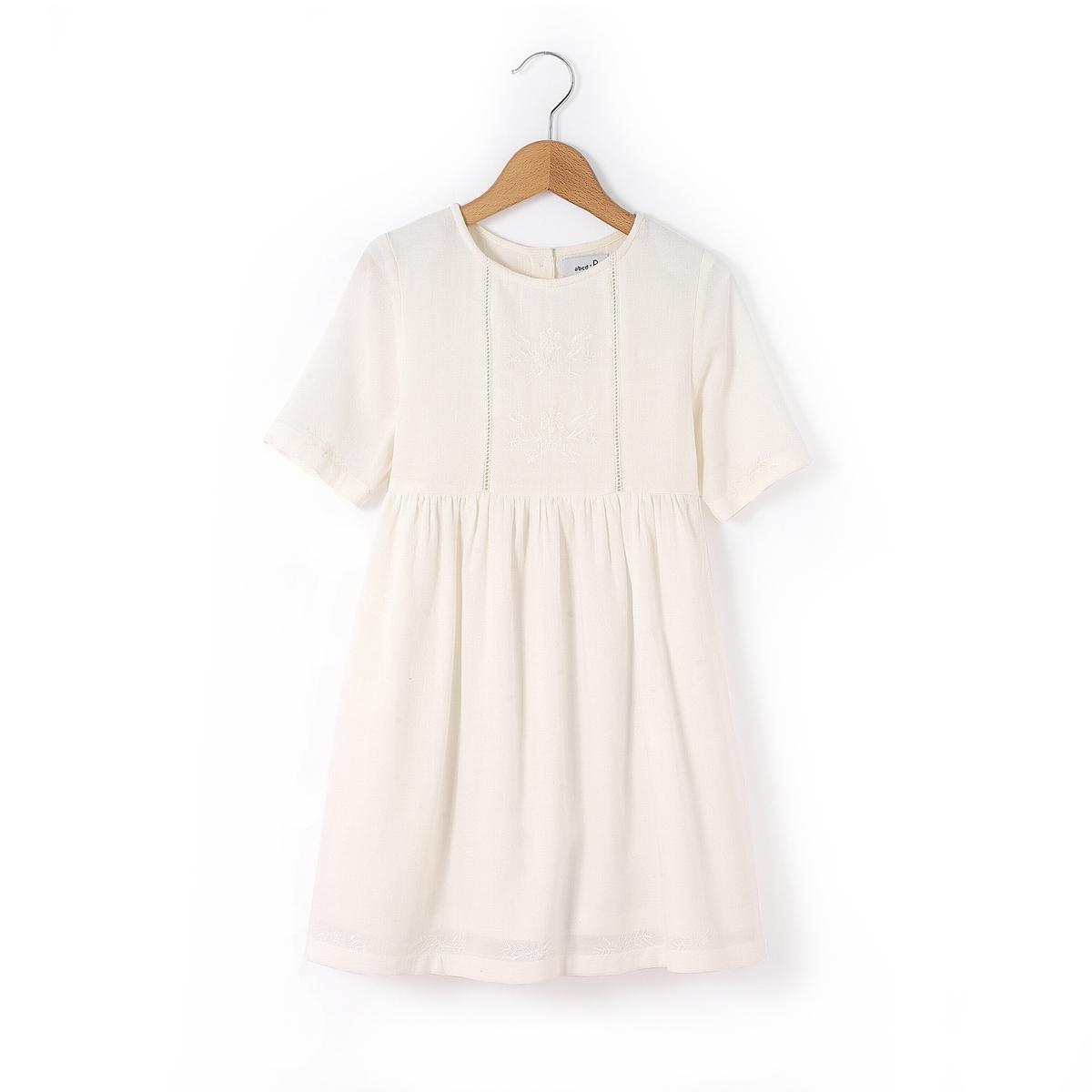 Платье с вышивкой в стиле фолк,  3-12 летПлатье в стиле фолк с рукавами 3/4. Круглый вырез. Вышивка на вставке спереди, подчеркнутой складками, рукавах и снизу. Застёжка на пуговицы сзади. Состав и описание : Материал       100% хлопокДлина    выше колен.  Марка       abcdRУход :Машинная стирка при 40 °С с вещами схожих цветов.Стирать и гладить с изнаночной стороны..Машинная сушка на обычном режиме.Гладить при средней температуре..<br><br>Цвет: розовый,экрю<br>Размер: 3 года - 94 см.12 лет -150 см.4 года - 102 см.8 лет - 126 см
