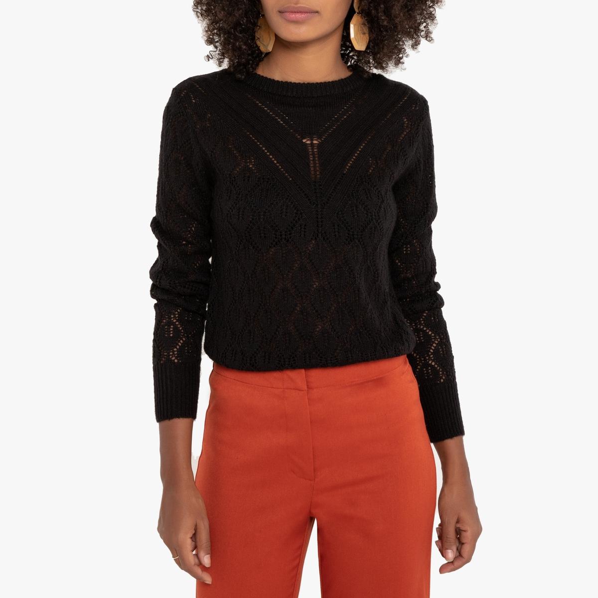 Ажурный La Redoute Пуловер с круглым вырезом S черный цена и фото
