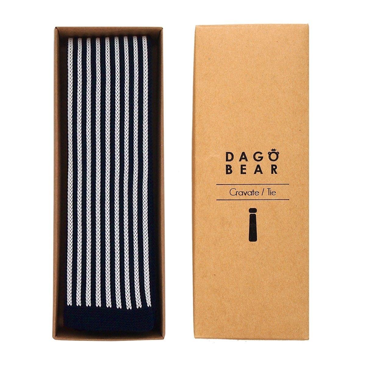 Cravate tricot bleu à rayures blanches