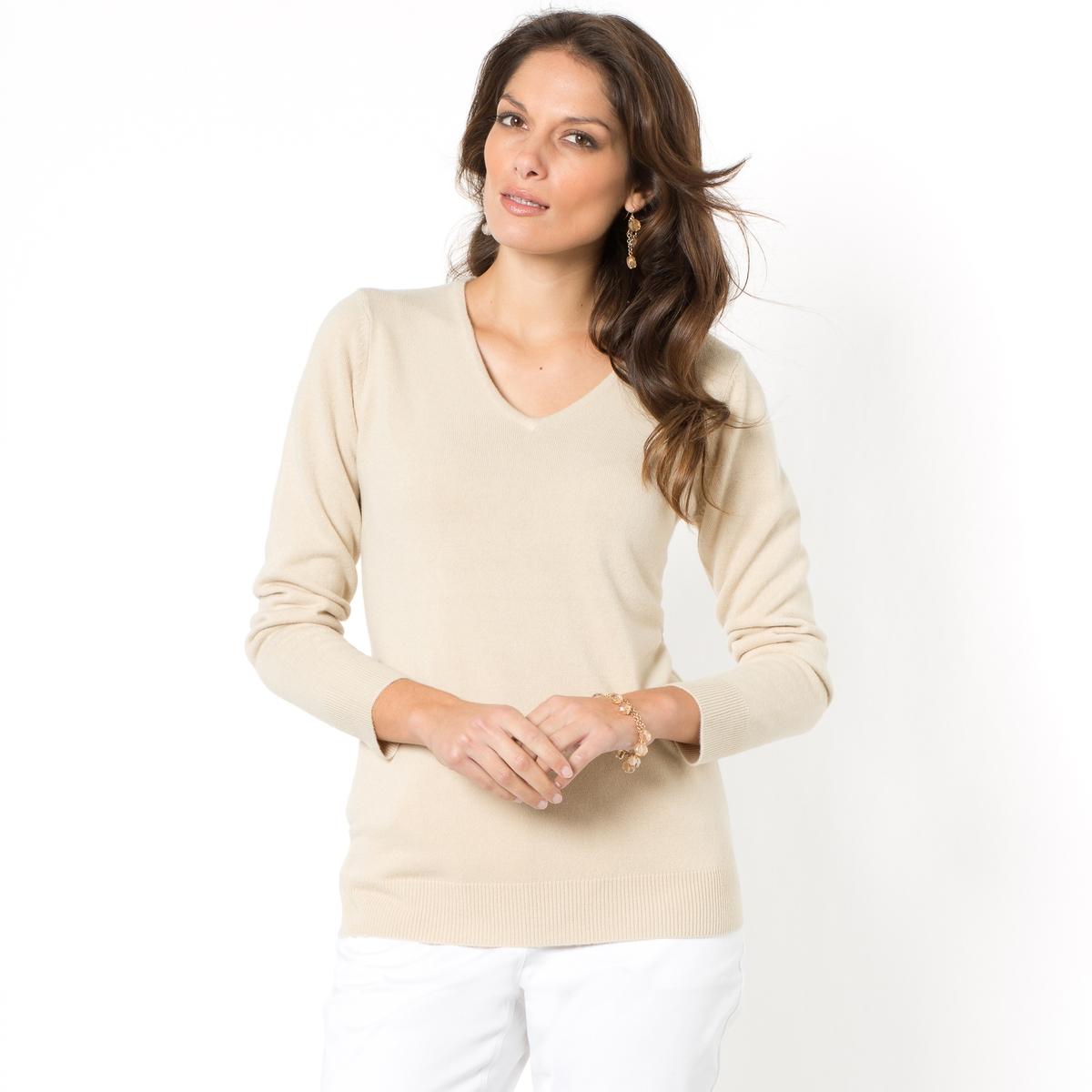 Sweter z dekoltem w serek, cienka miękka dzianina