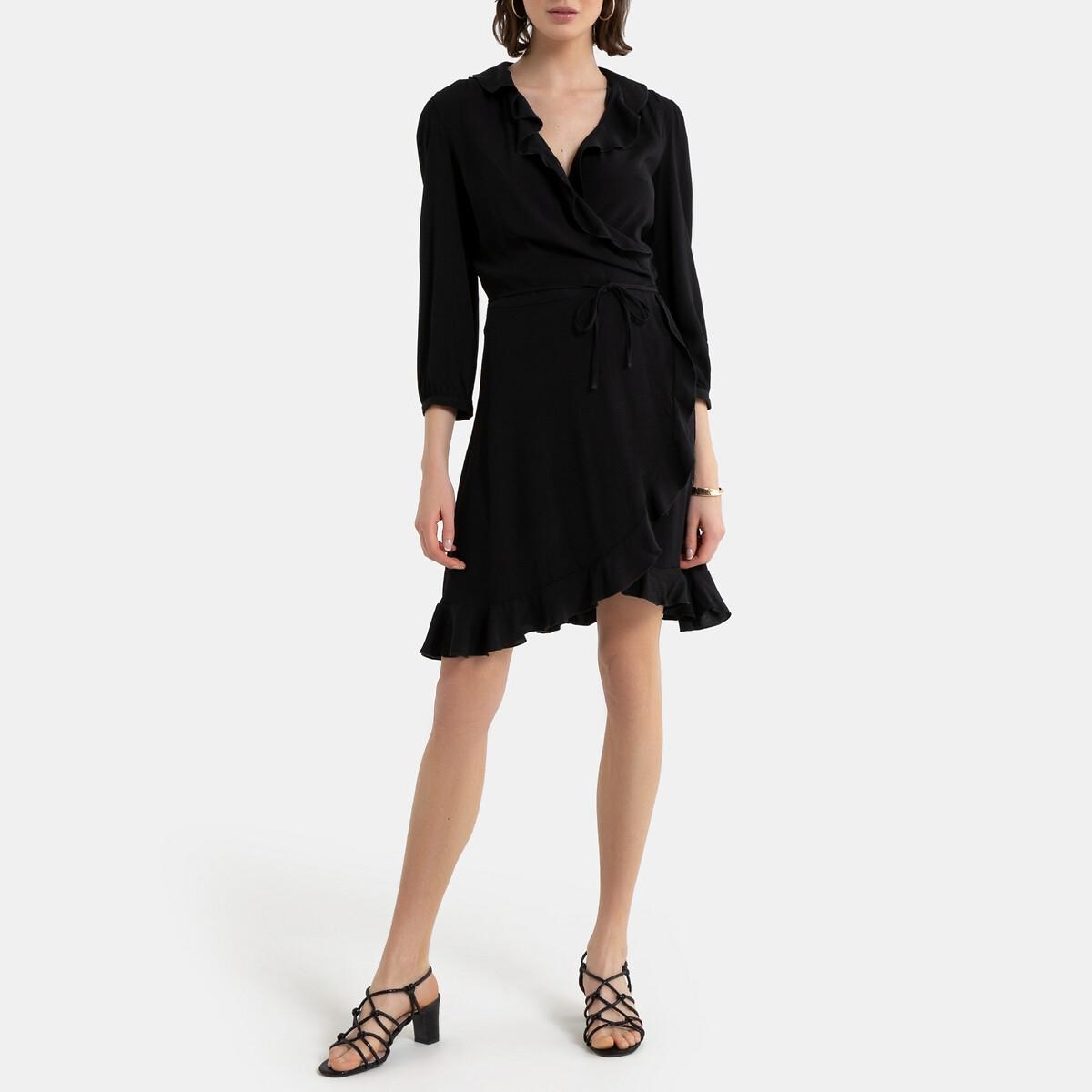 Платье La Redoute С запахом и рукавами 42 (FR) - 48 (RUS) черный трусы слипы la redoute la redoute 42 44 fr 48 50 rus черный