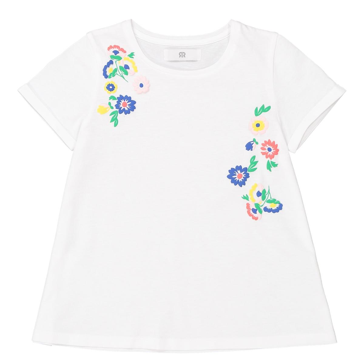 Футболка с цветочной вышивкой, 3-12 лет футболка с вышивкой и воланами 3 12 лет
