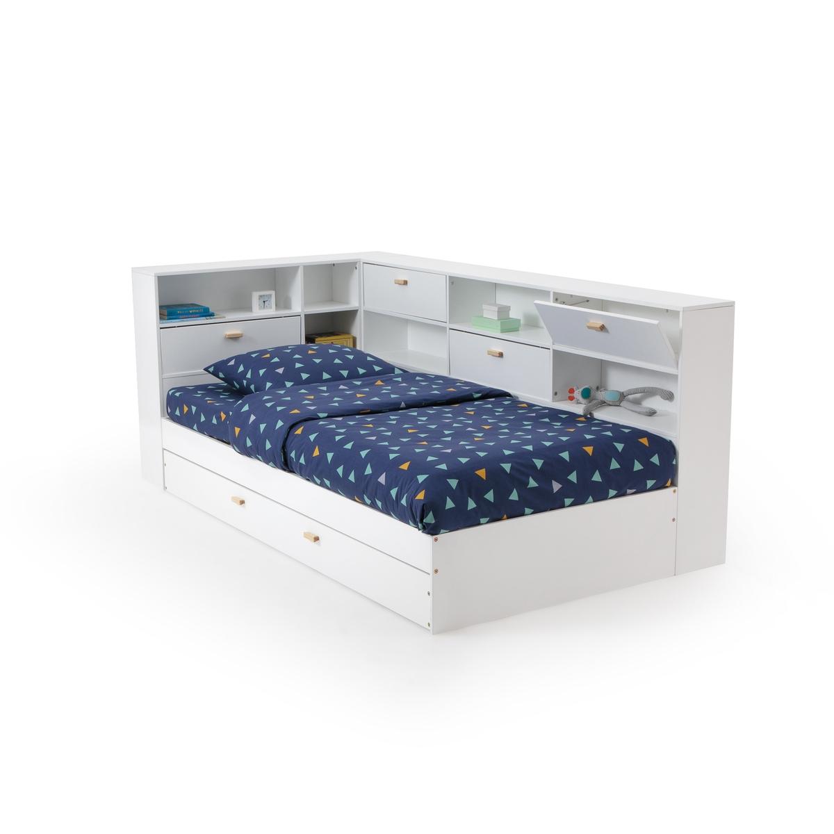Кровать LaRedoute С ящиком полками и кроватным основанием 90 x 190 см белый кровать laredoute с ящиком отделениями для вещей и кроватным основанием yann 90 x 190 см белый