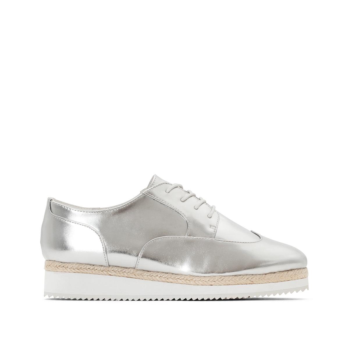 Ботинки-дерби с металлическим блеском, для широкой стопы 38-45