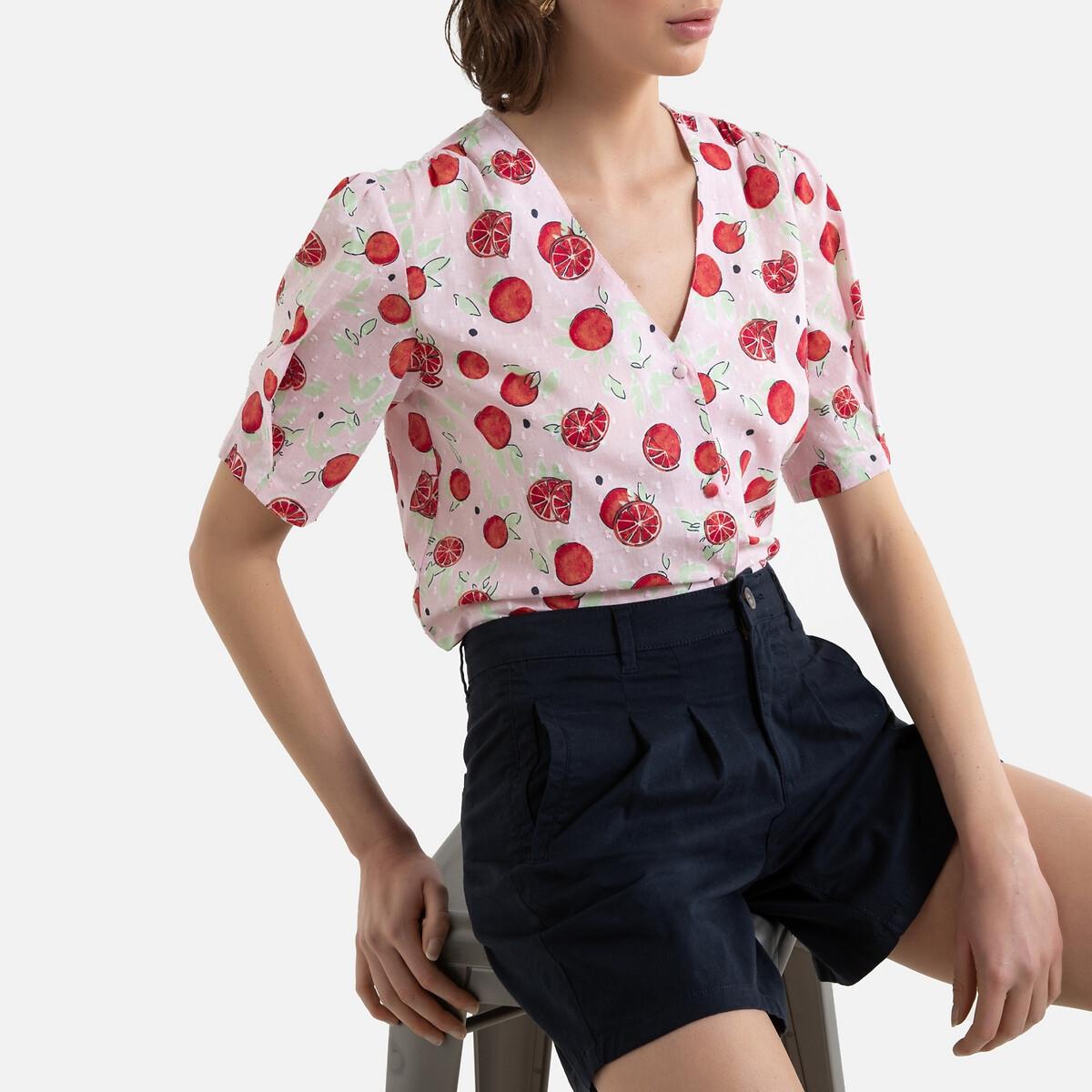Camisa estampada com decote em V, mangas curtas balão
