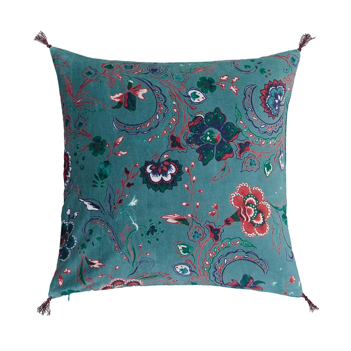 Фото - Чехол LaRedoute На подушку из велюра Paisley 45 x 45 см синий чехол laredoute на подушку валик с отделкой бисером volodia 45 x 45 см зеленый