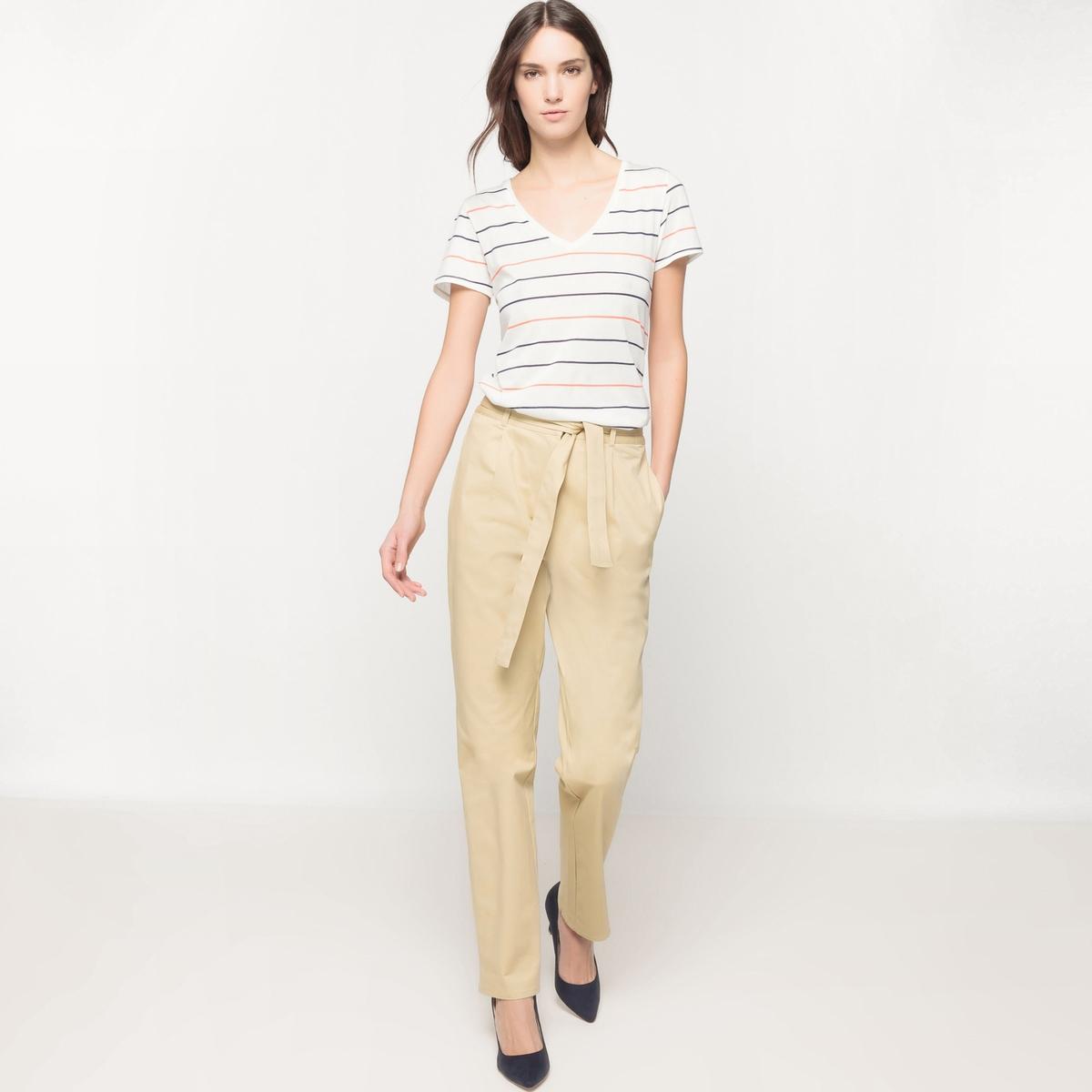 Прямые брюки с поясом с завязкамиМатериал : 97% хлопка, 3% эластана Рисунок : однотонная модель  Высота пояса : высокий поясПокрой брюк : прямой<br><br>Цвет: бежевый<br>Размер: 44 (FR) - 50 (RUS).36 (FR) - 42 (RUS)