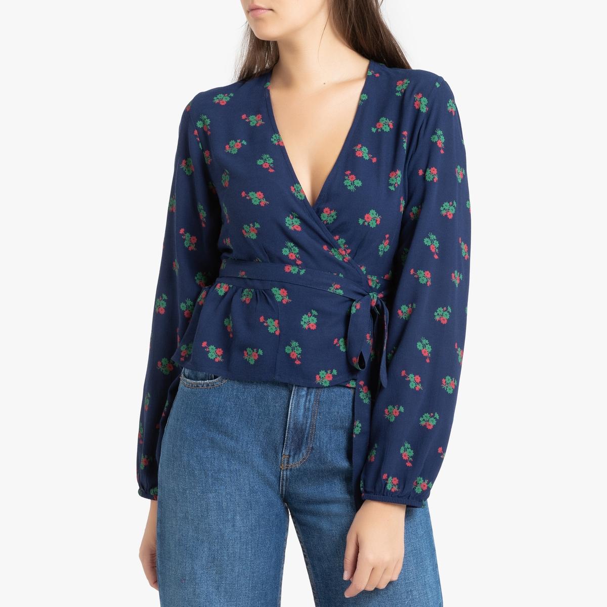 цена Блузка La Redoute С запахом с длинными рукавами CALIOPE XS синий в интернет-магазинах