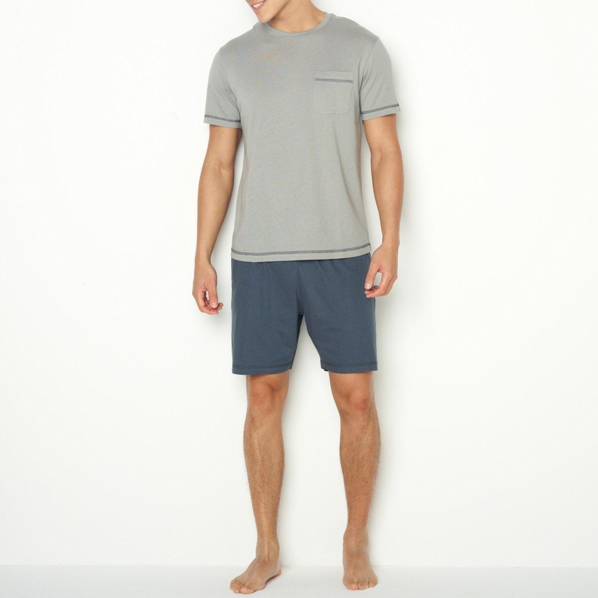 Пижама с шортамиДжерси, 100% хлопка. Футболка с короткими рукавами, круглым вырезом, нагрудным карманом и контрастной строчкой. Шорты с эластичным поясом.<br><br>Цвет: серый/ антрацит,синий/ темно-синий<br>Размер: S.XL.3XL.L.M.XXL.M