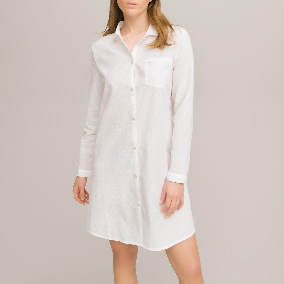 Рубашка LaRedoute Ночная из ткани с вышивкой гладью 40 (FR) - 46 (RUS) белый