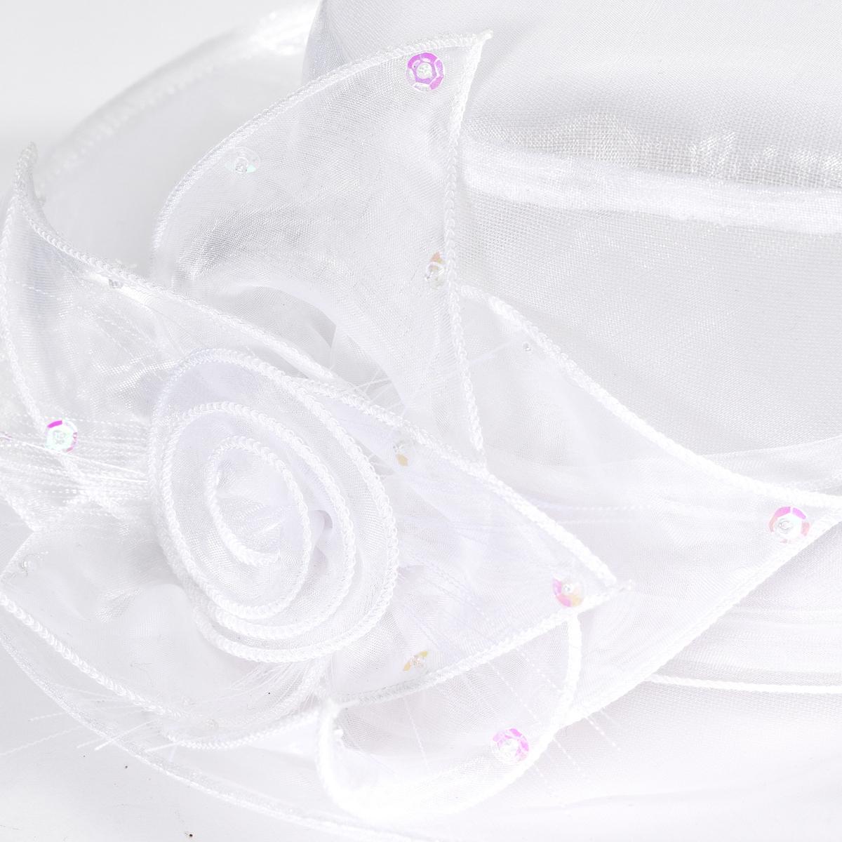 Шляпа для церемонийШляпа для церемоний. Красивый цветок сбоку. 100% полиэстера.<br><br>Цвет: белый