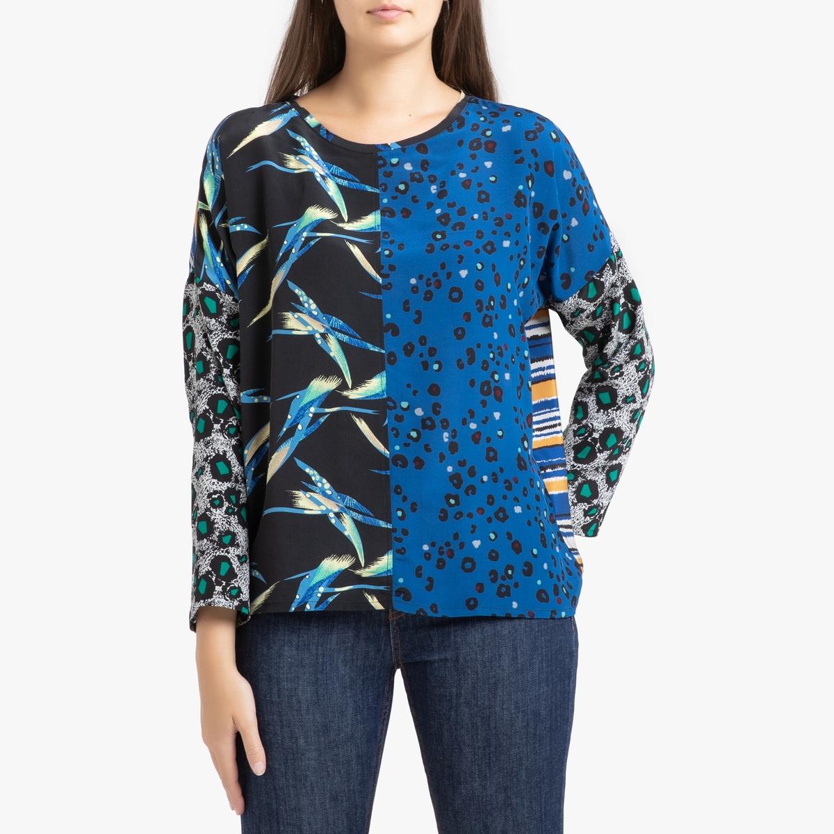 Блузка La Redoute Из шелка с длинными рукавами S/M синий цена