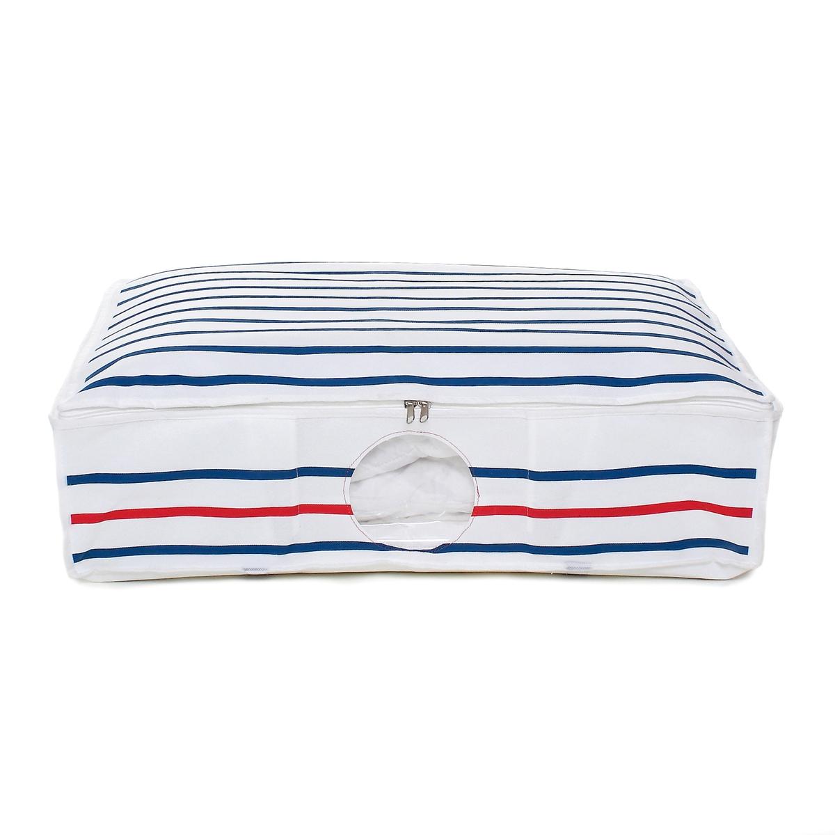 Чехол герметичный в форме чемодана 145лНабор чехлов для хранения ваших подушек, одеяла, лыжных комбинезонов, сезонной одежды в полной безопасности.Оптимальная экономия места, благодаря чехлу в полоску и вакуумному чехлу, который уменьшает объем ваших вещей вакуум создается за несколько секунд с помощью надувания : простой и очень практичный .Описание чехла в полоску и вакуумного чехла:1 вакуумный чехол 145 лМатериал : чехол из тканного полипропилена 150г/м2Вес : 1,53 кгхарактеристики вакуумного чехла  :Боковые ручки для переноски из полиэстера. Прозрачное окошко спереди (диаметр 20 см).Крышка на молнии и внутренние панели для укрепления конструкции (картон, покрытый тканным полипропиленом) .2 ремешка с пряжкой для удобного перемещения при заполнении внутреннего мешка.Размеры :Размеры вакуумного чехла 3D : 113 (65) x 46 x 72см .Полезные размеры наполненного чехла: 67 x 48 x 150 см Размеры упаковки : 50 x 30 x 6 см<br><br>Цвет: в полоску белый/темно-синий