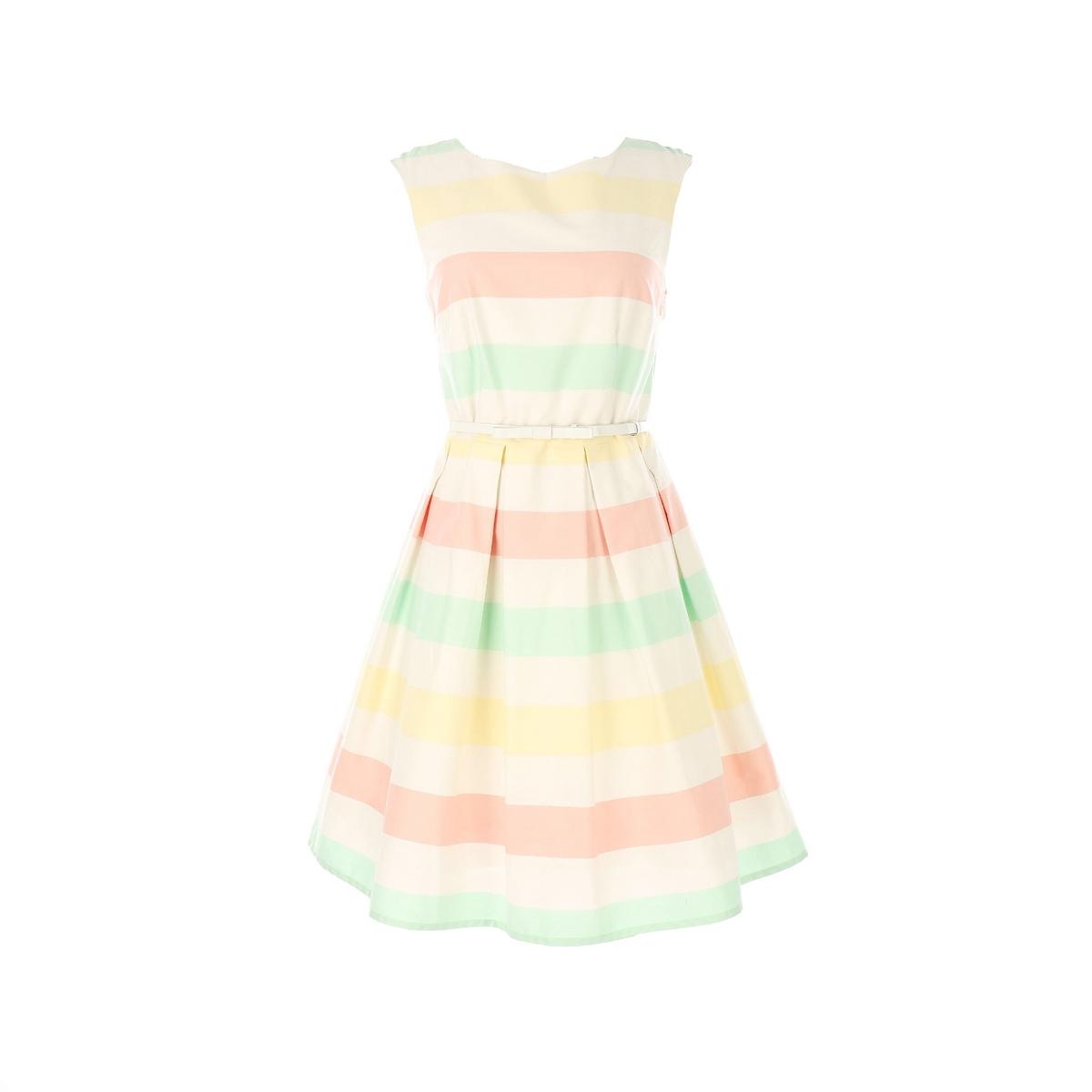 Платье без рукавов, расклешенное от пояса платье без рукавов 85% хлопка