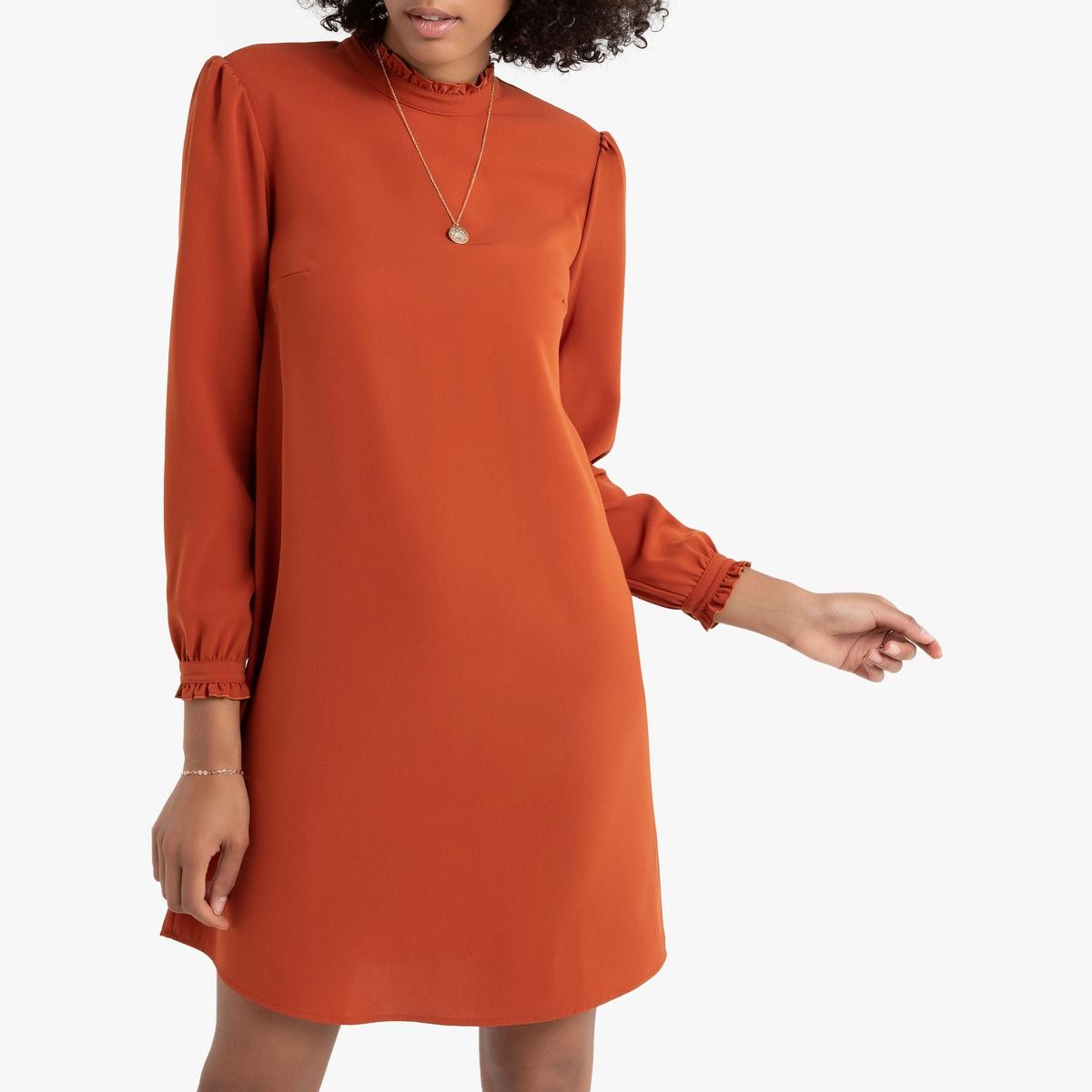 Платье La Redoute Прямое с воротником-стойкой и воланами длинные рукава 38 (FR) - 44 (RUS) красный