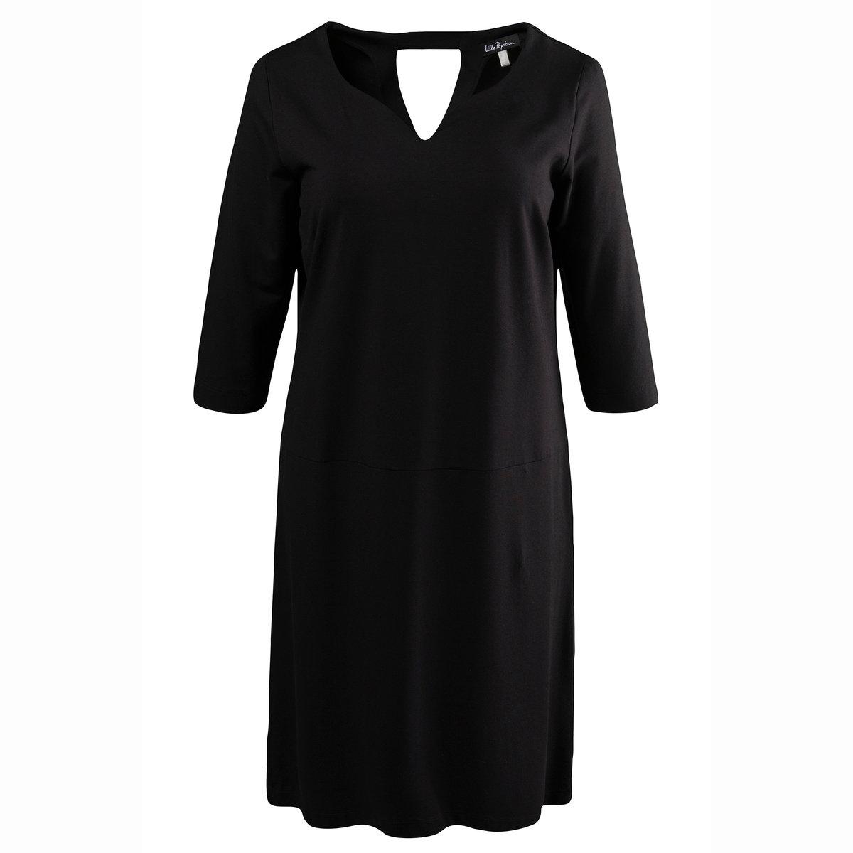 Платье с рукавами 3/4Платье с рукавами 3/4 ULLA POPKEN. Круглый вырез с небольшой выемкой, тонкая застежка на молнию сзади . 100% полиэстера<br><br>Цвет: черный<br>Размер: 48/50 (FR) - 54/56 (RUS)
