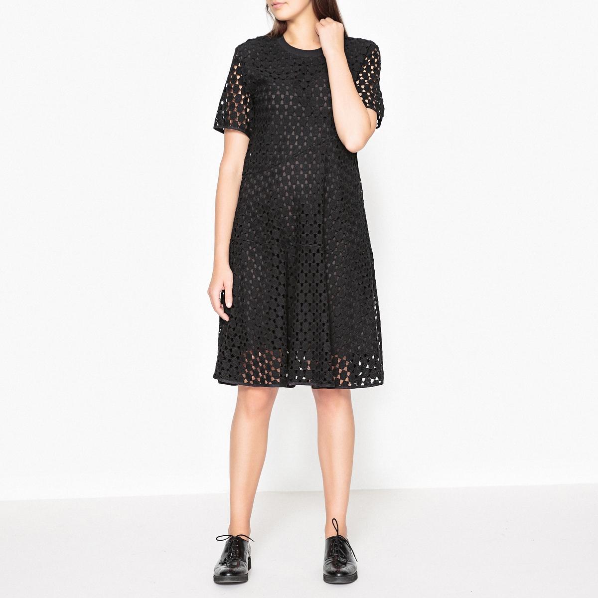 Платье LaRedoute С гипюром BELAFIORE 40 (FR) - 46 (RUS) черный платье laredoute из кружева oilway 40 fr 46 rus черный