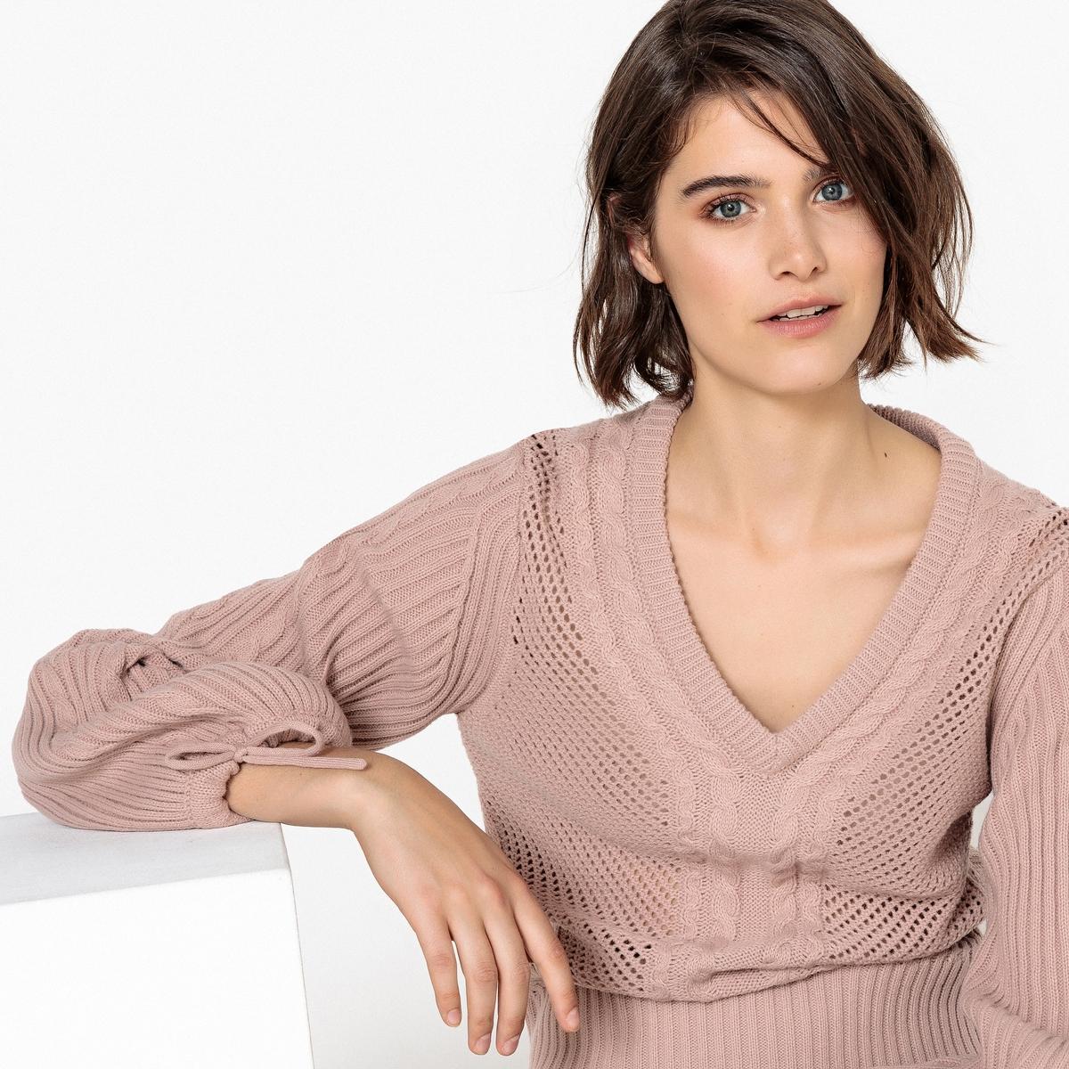 Пуловер с V-образным вырезом, из шерсти пуловер из плотного трикотажа с v образным вырезом