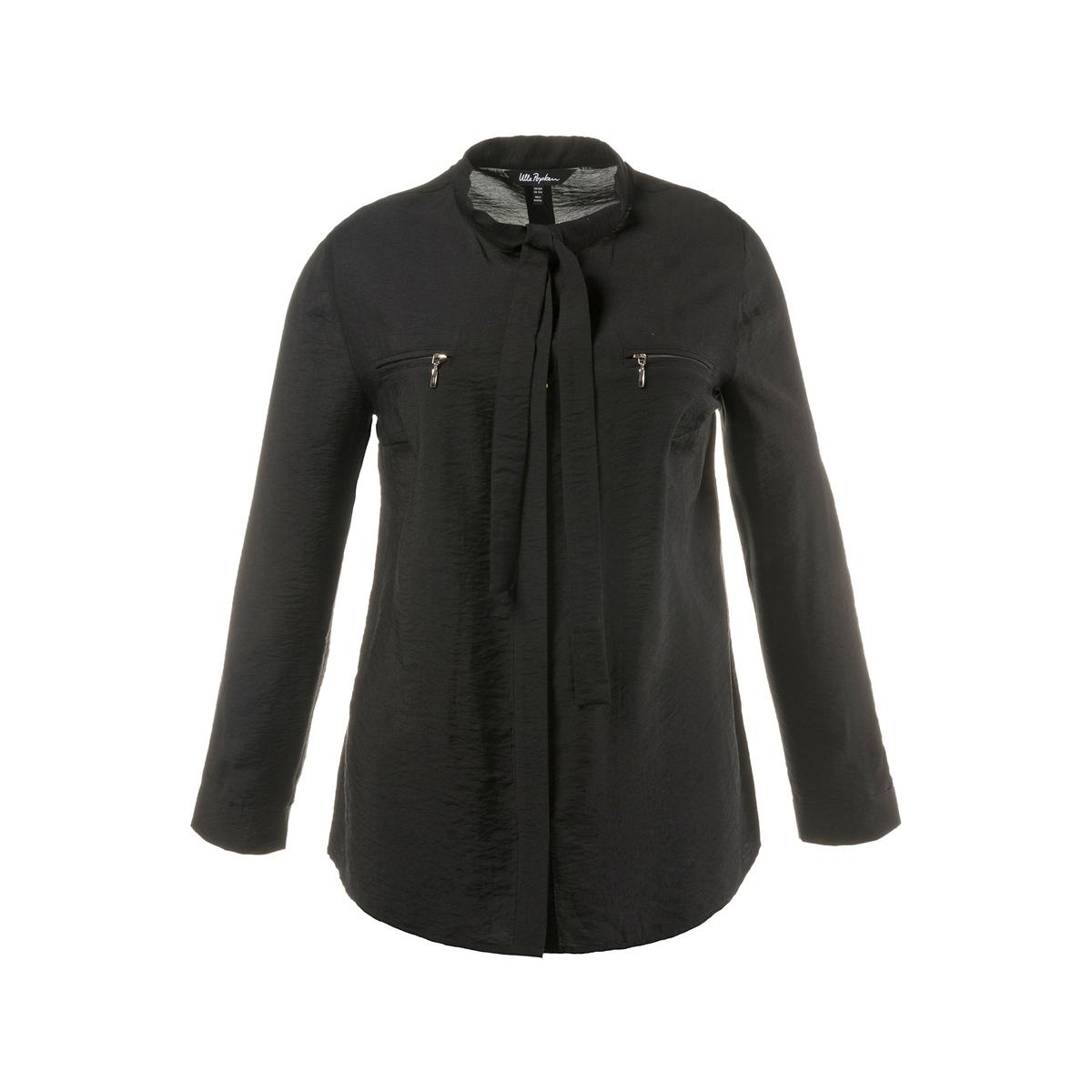 БлузкаБлузка свободного покроя с завязками и невидимой планкой застежки на пуговицы . 2 оригинальных кармана, золотистая застежка на молнию, длинные рукава, отделка манжет . Длина зависит от размера: 68-78 см.<br><br>Цвет: черный<br>Размер: 48/50 (FR) - 54/56 (RUS)