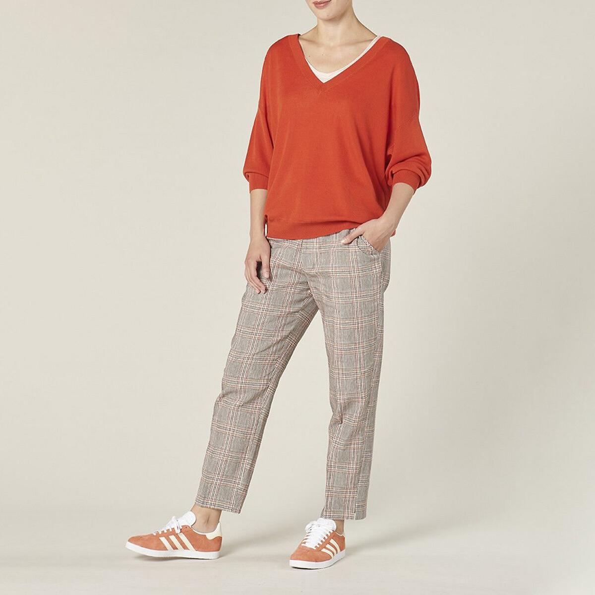 Пуловер La Redoute С V-образным вырезом из тонкого трикотажа FLAURA 3(L) бежевый пуловер la redoute с v образным вырезом из тонкого витого трикотажа m каштановый