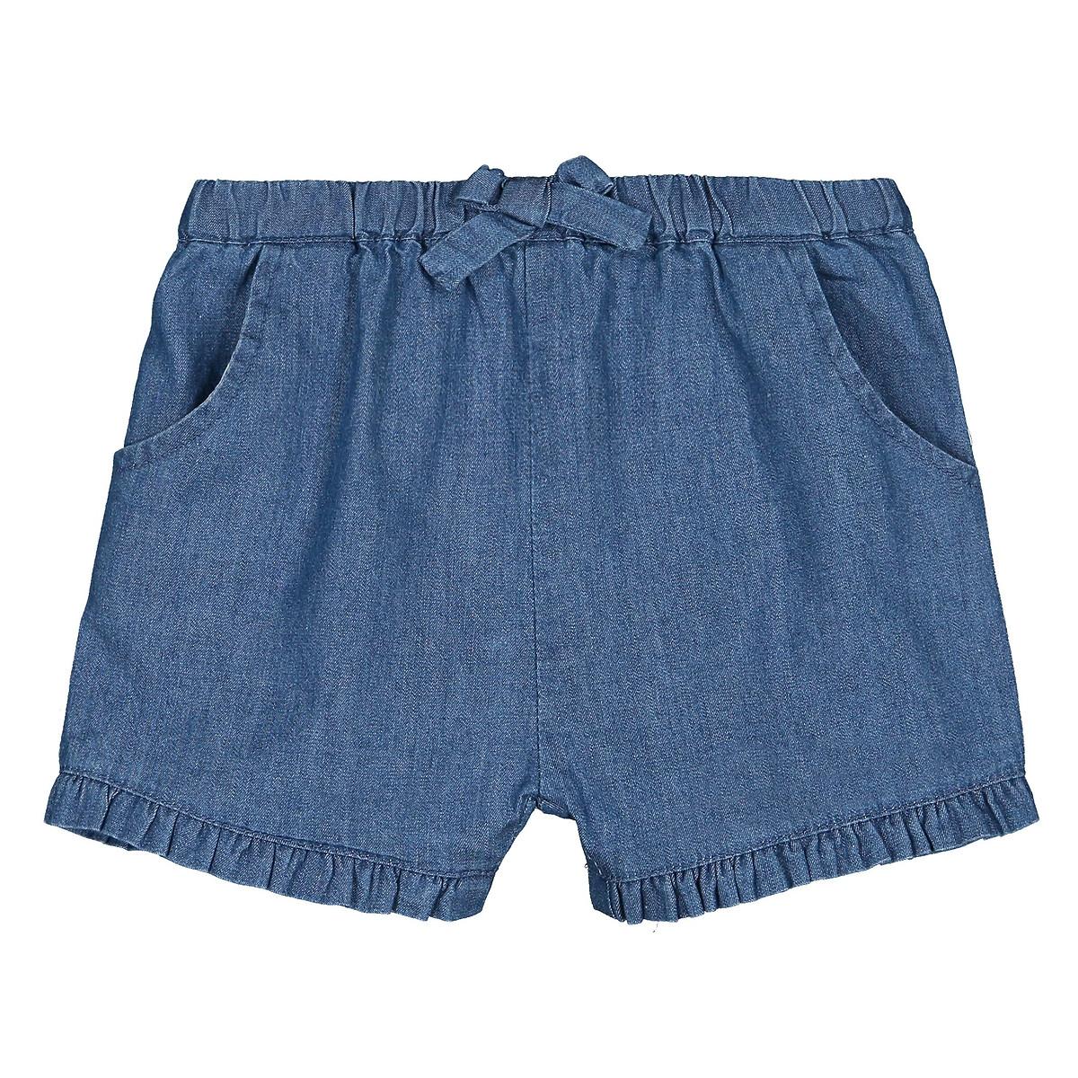 Шорты-шаровары LaRedoute С воланом из джинсовой ткани 1 мес - 3 года 2 года - 86 см синий