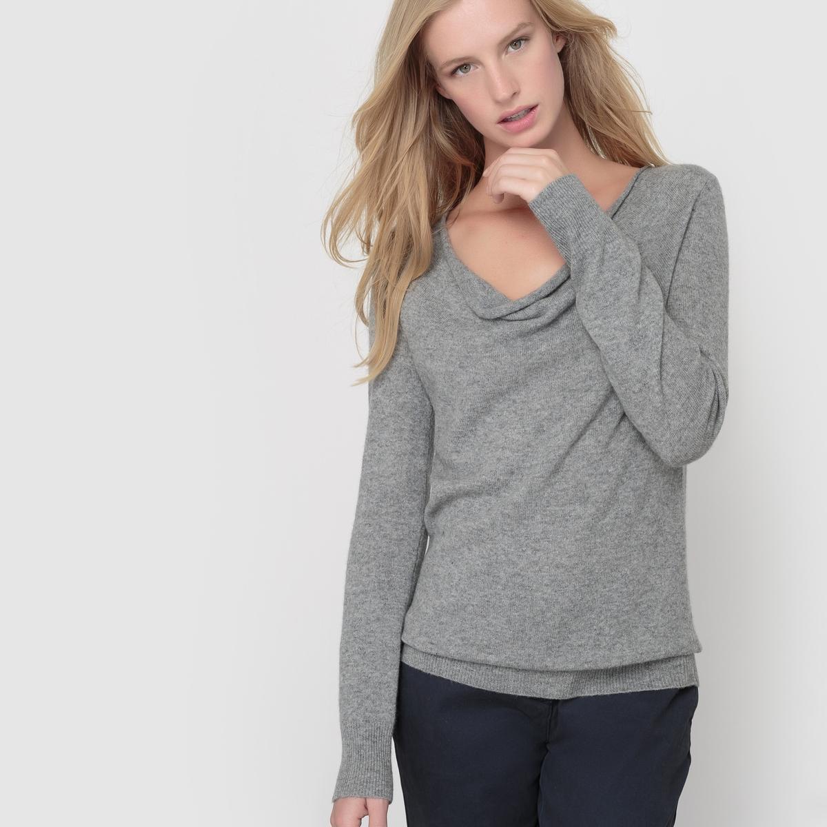 Пуловер с драпировкой на вырезе, 100% кашемираПуловер с драпировкой на вырезе. Длинные рукава. Края рукавов и низа связаны в рубчик. Джерси, 100% кашемира. Длина 64 см.<br><br>Цвет: серый меланж,темно-синий,черный<br>Размер: 42/44 (FR) - 48/50 (RUS).38/40 (FR) - 44/46 (RUS).34/36 (FR) - 40/42 (RUS).50/52 (FR) - 56/58 (RUS)