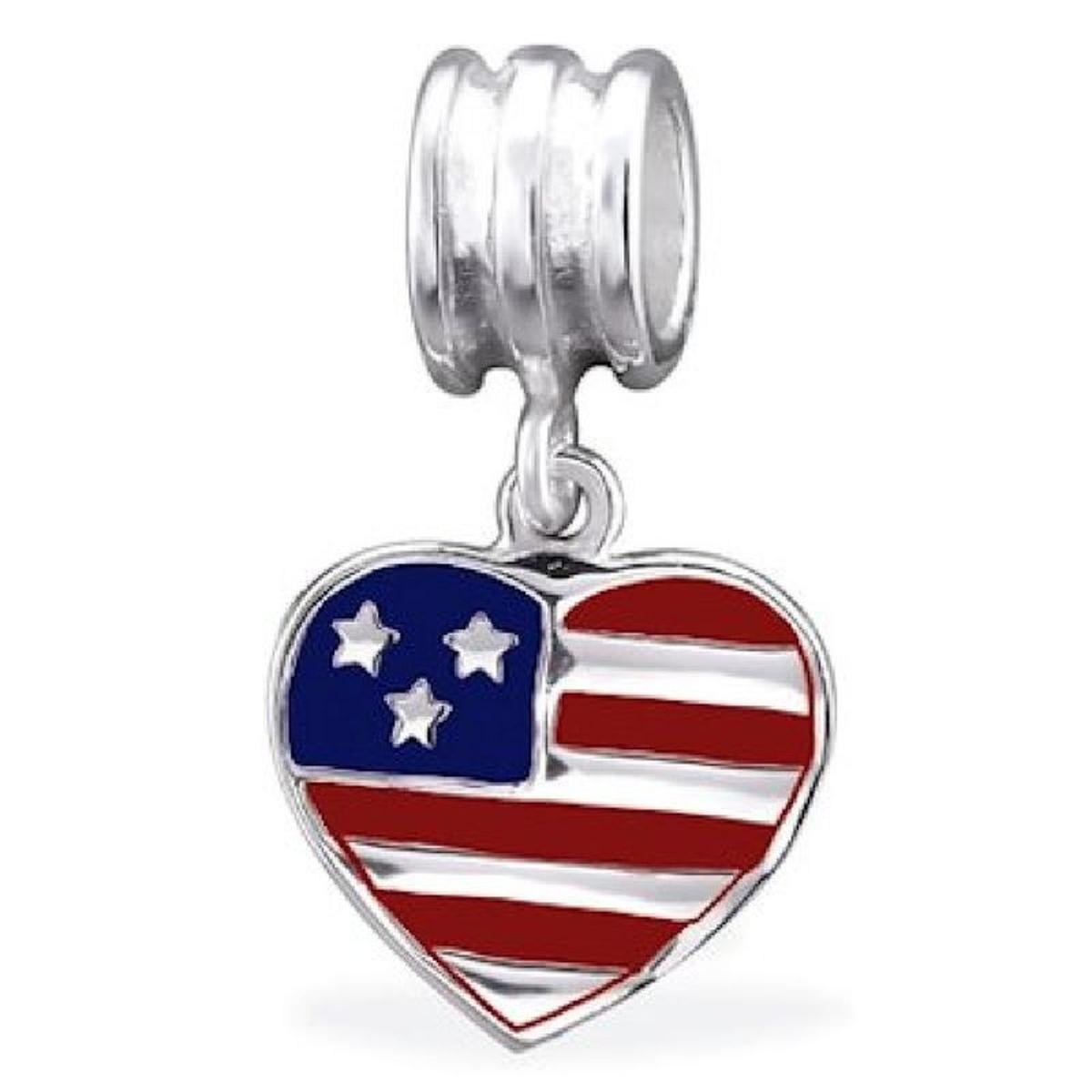 Charm Pampille Drapeau Etats-Unis Amérique Argent 925 - Compatible Pandora, Trollbeads, Chamilia, Biagi