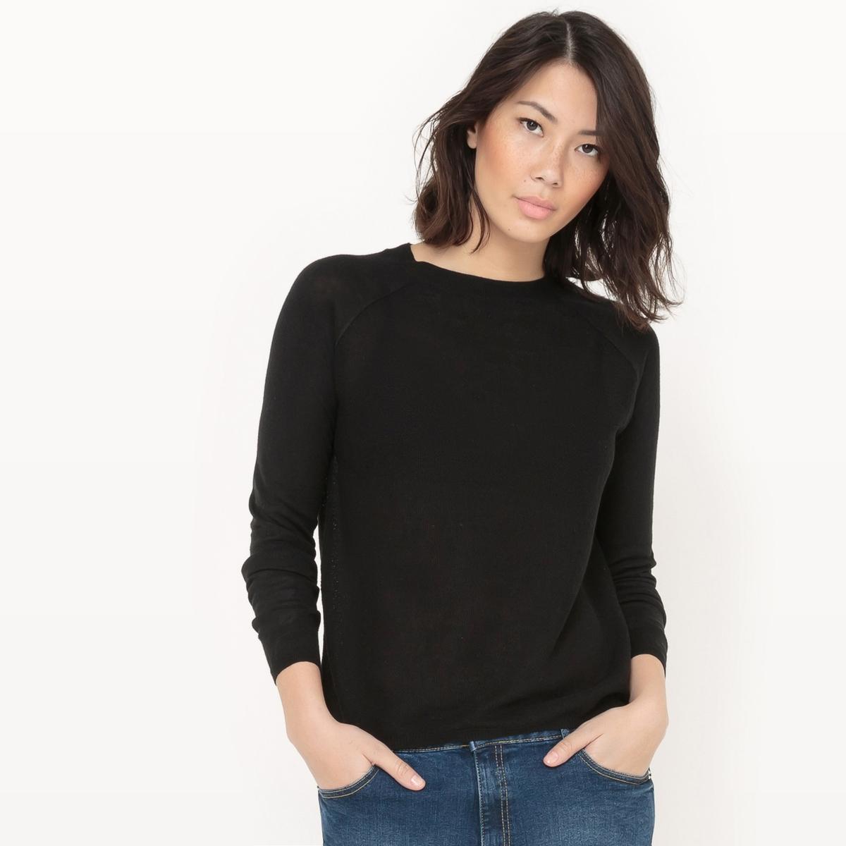 Пуловер с круглым вырезом из хлопка и льна