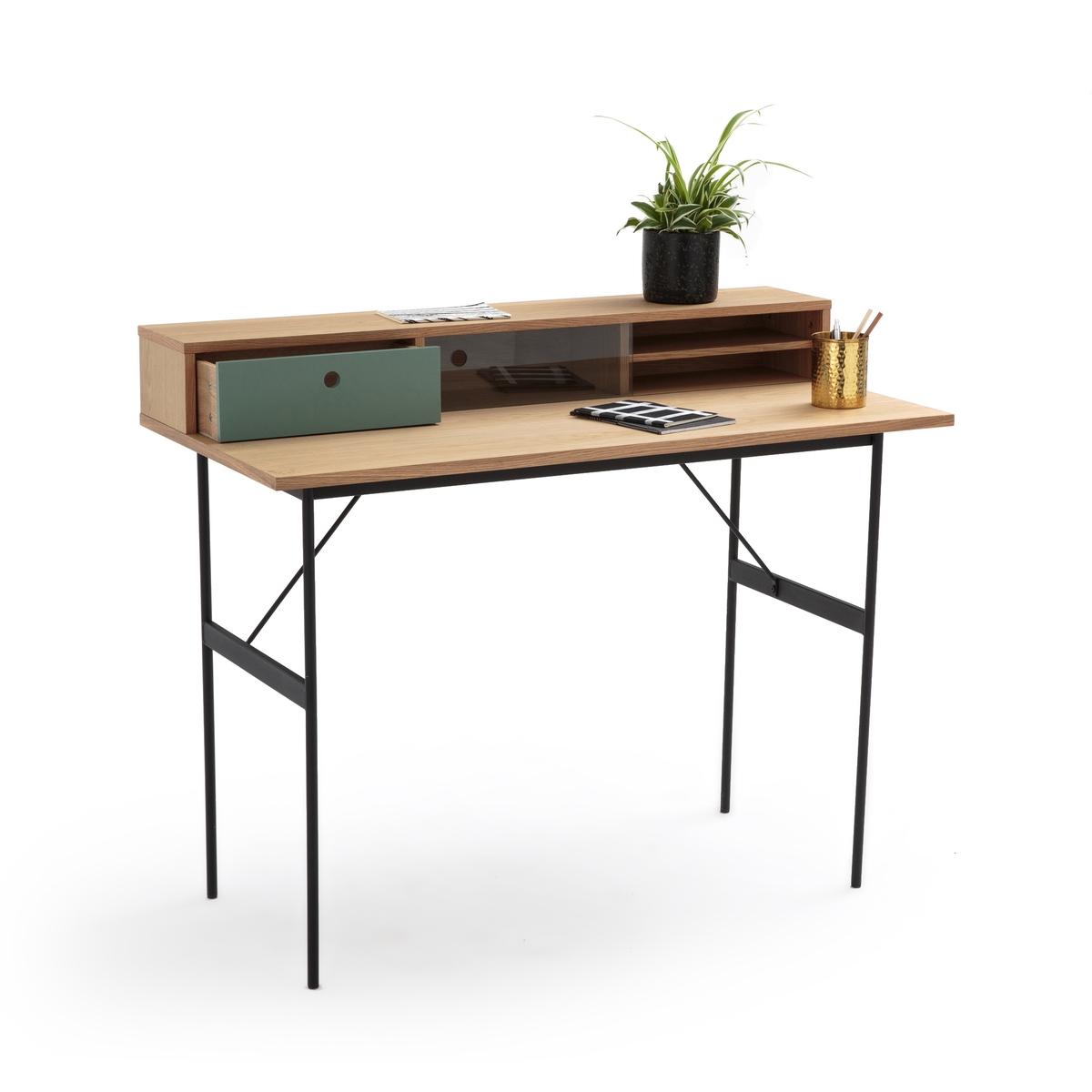 Стол LaRedoute Письменный с надстройкой Nyjo единый размер каштановый